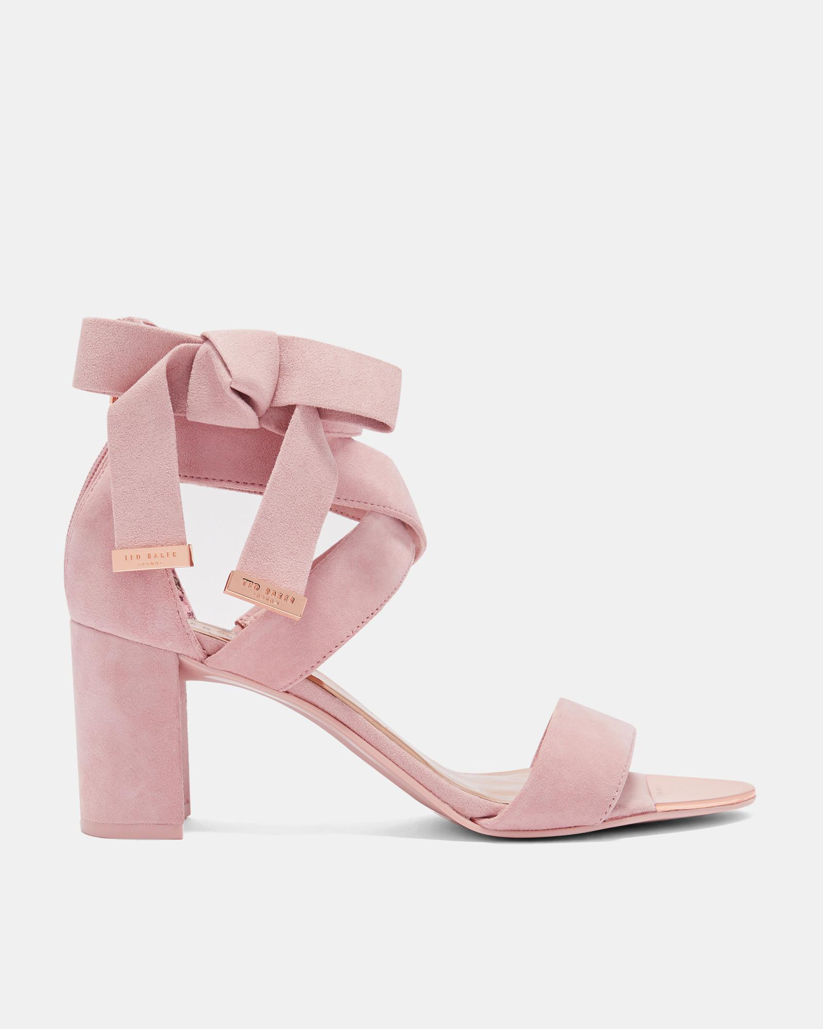 3d2cdd8e10c56 Ted Baker Suede Bow Detail Strappy Sandals in Pink - Lyst