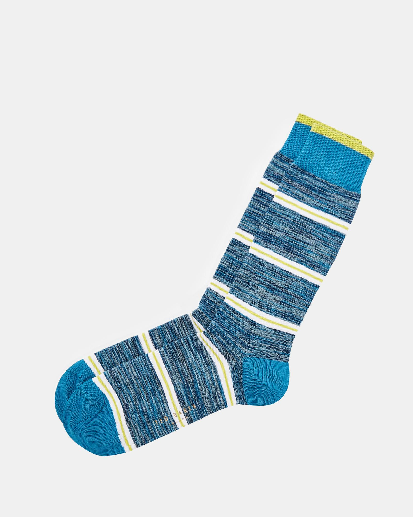 2a4435bc2 Lyst - Ted Baker Striped Cotton Socks in Blue for Men