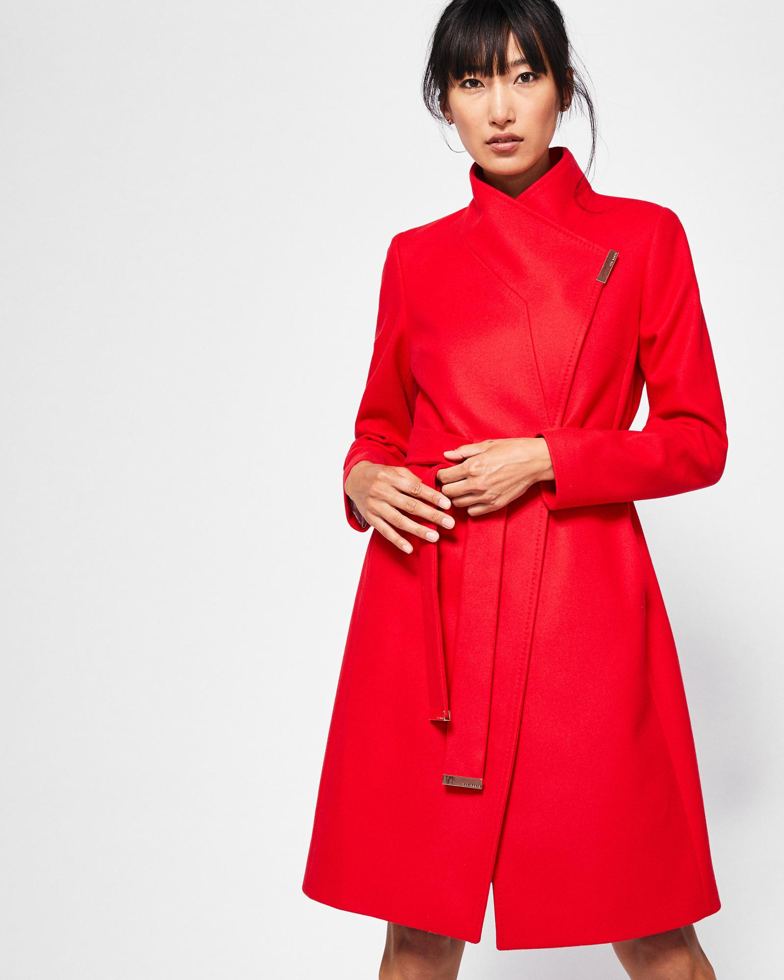 46f1e260bfd5d Lyst - Ted Baker Cashmere-blend Wrap Front Coat in Red