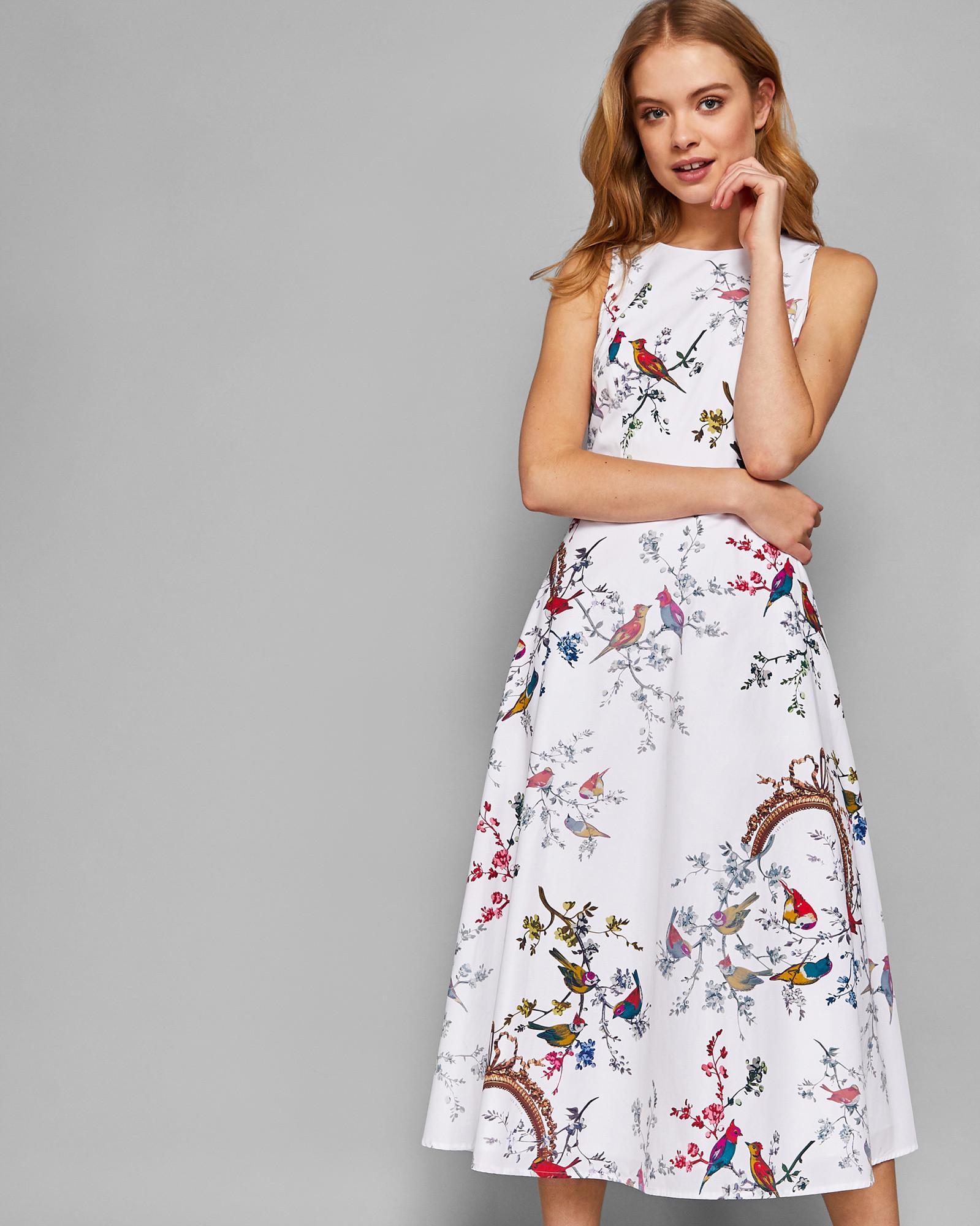 45e5a518232 Ted Baker Opulent Fauna Midi Dress in Natural - Lyst
