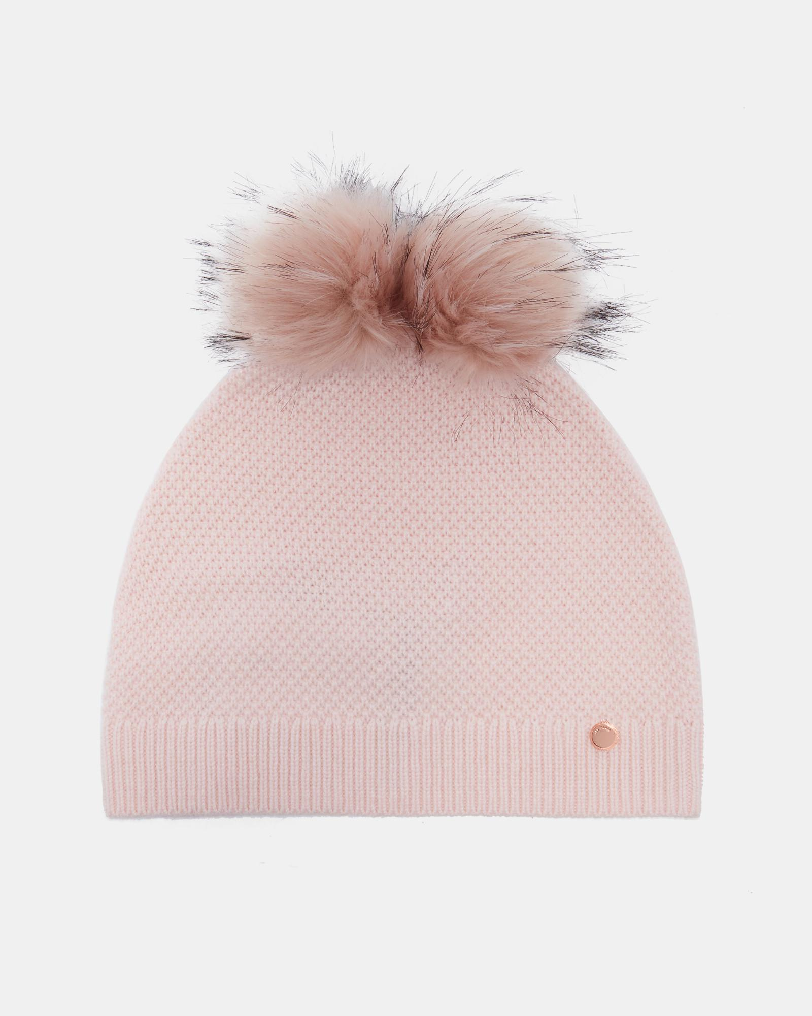 79dd91a7c9d Ted Baker Double Pom-pom Hat in Pink - Lyst