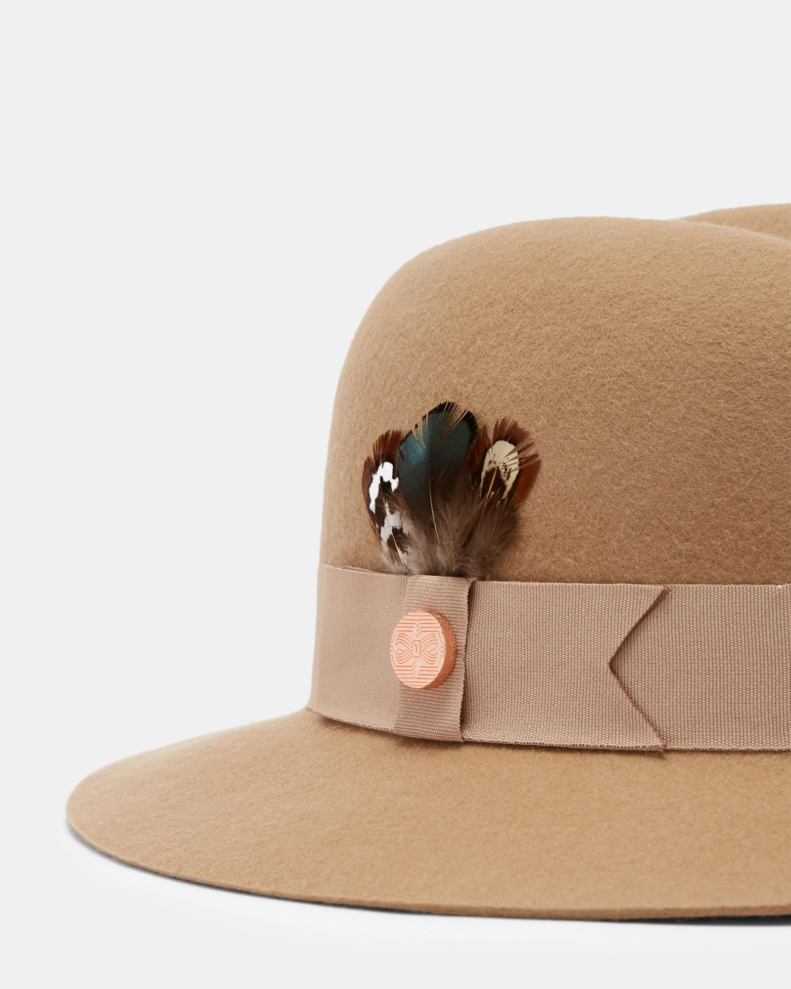 28b43988064dc2 Lyst - Ted Baker Feather Trim Fedora in Brown
