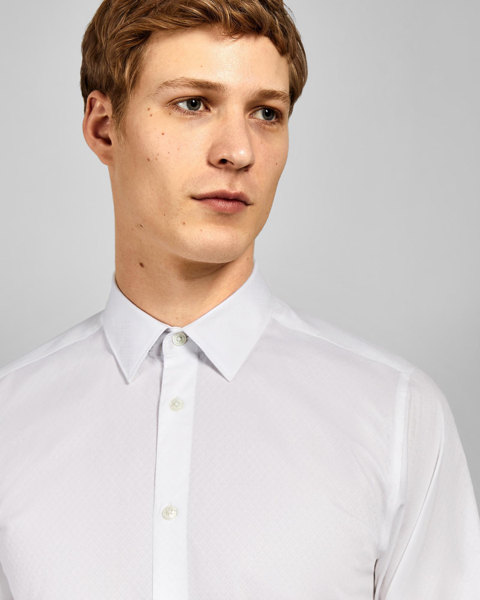 1a45b702dbd1 Ted Baker Diamond Print Cotton Shirt in White for Men - Lyst