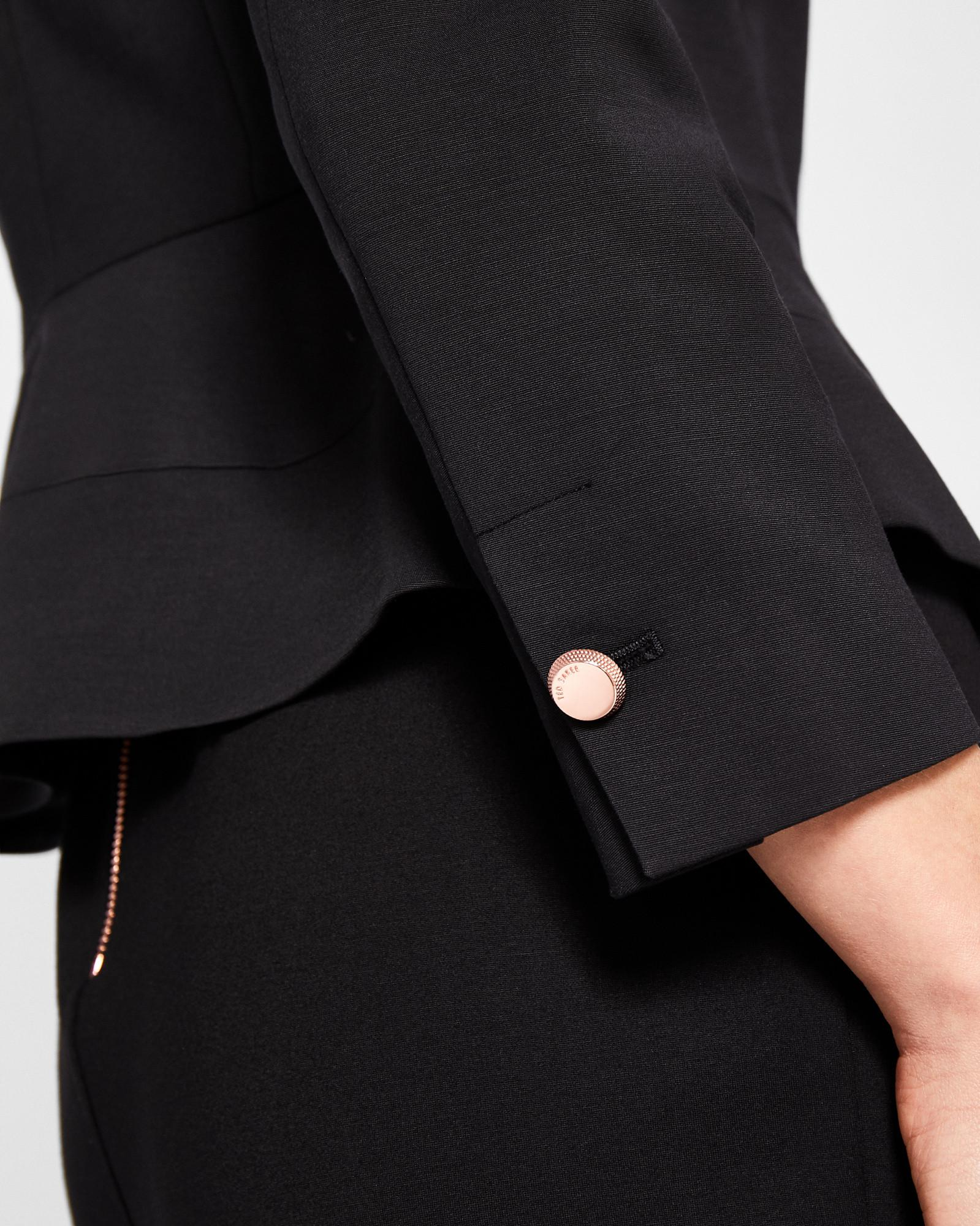 78b8a3c0c Lyst - Ted Baker Bow Neck Peplum Jacket in Black