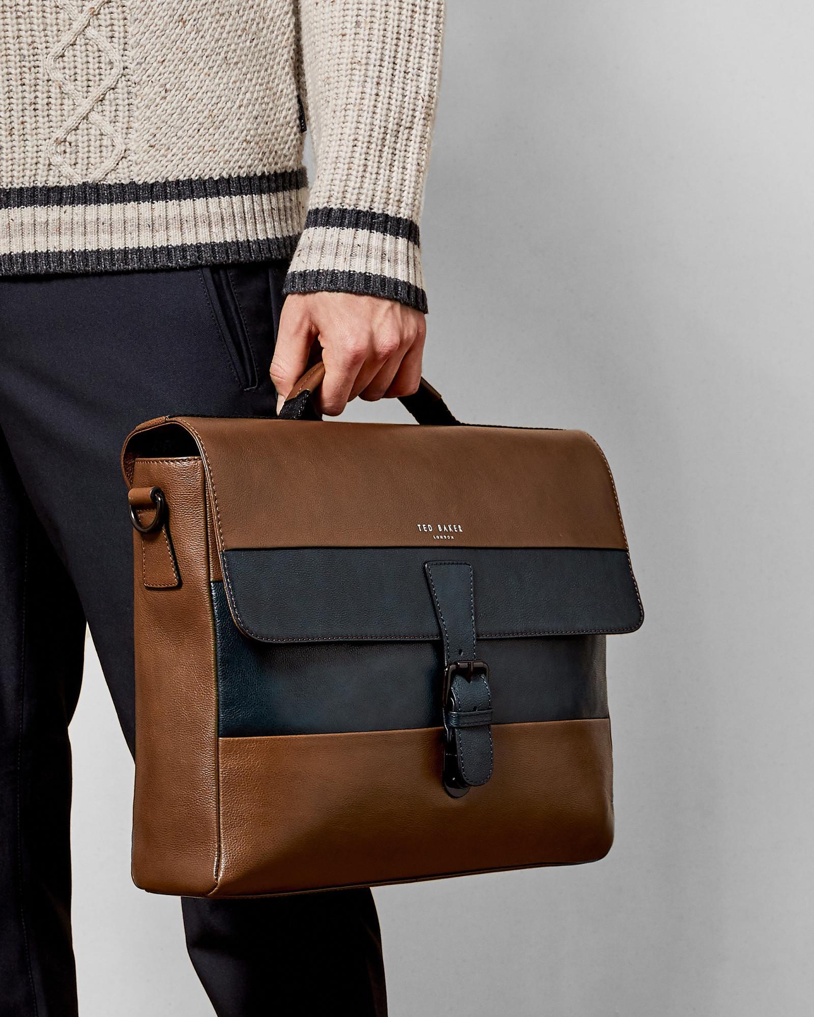 ce7da1005 Ted Baker Striped Leather Messenger Bag for Men - Lyst