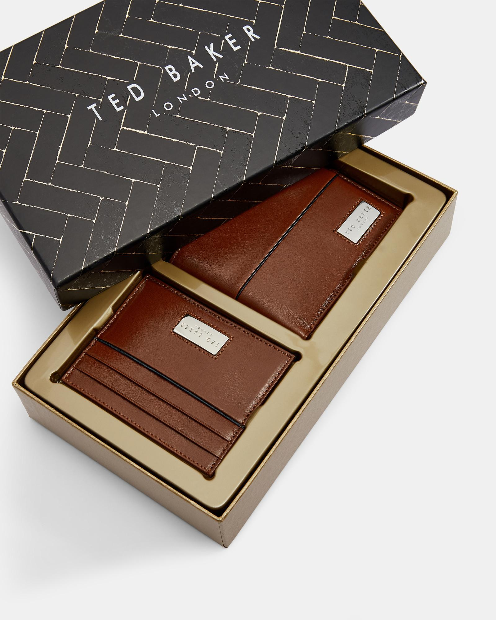 5eef35ff1a1 Ted Baker Leather Wallet And Cardholder Gift Set in Brown for Men - Lyst