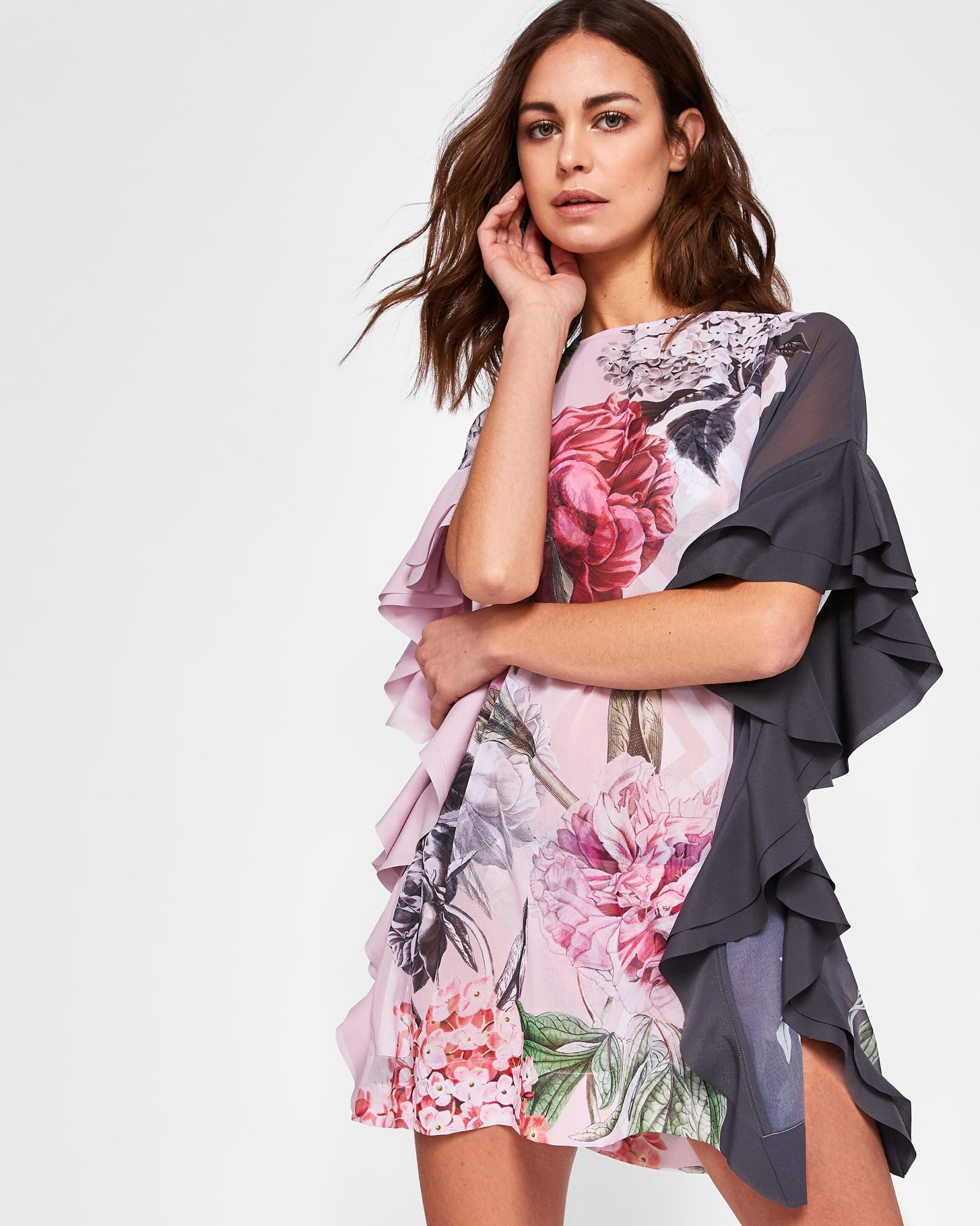 3f84e44be1 Lyst - Ted Baker Palace Gardens Ruffle Detail Cover Up in Gray