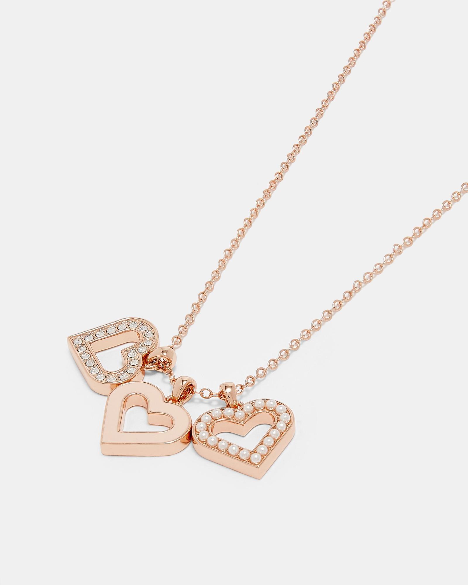 Lyst ted baker heart cluster pendant necklace aloadofball Images