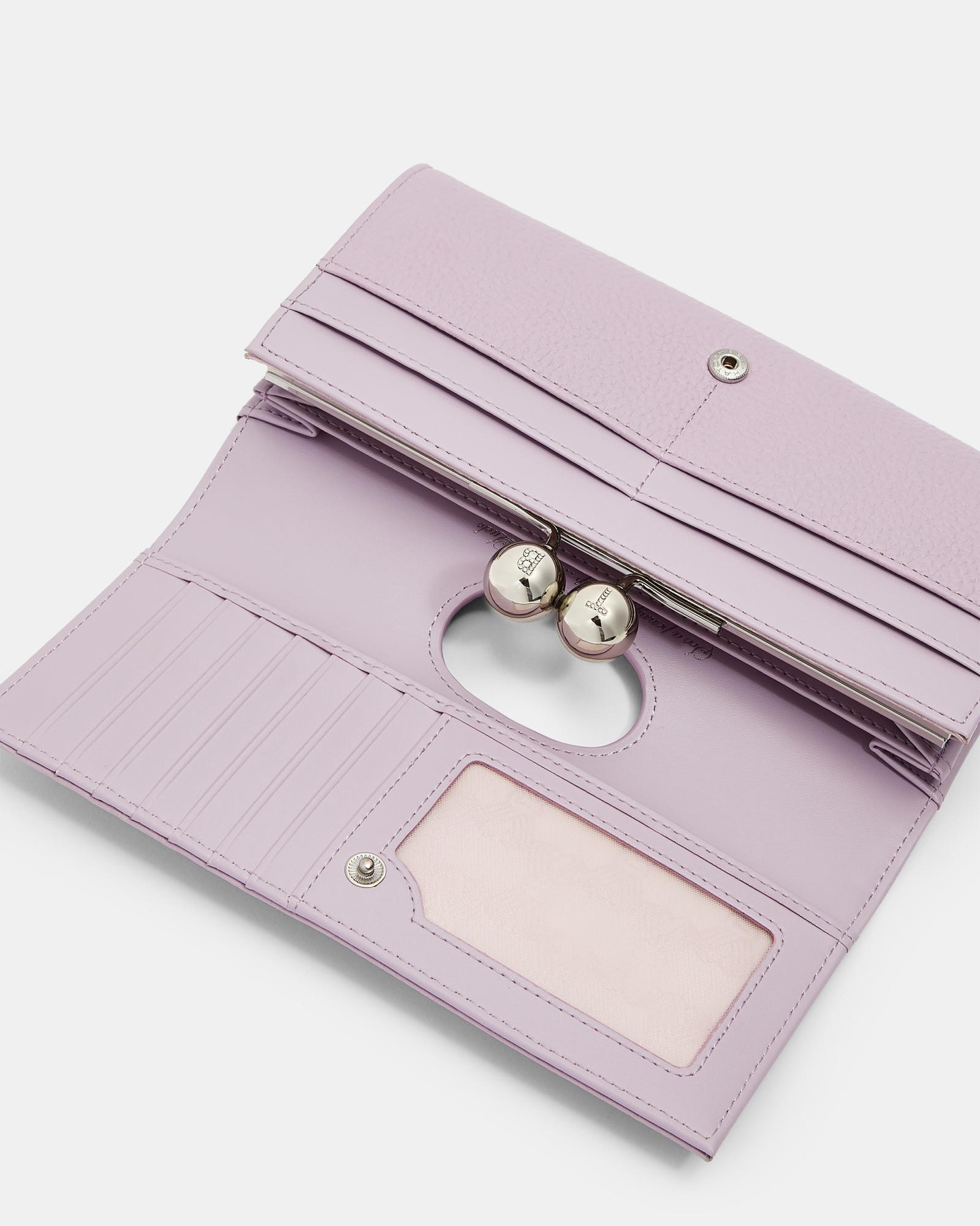 c5eeb3981 Lyst - Ted Baker Scripted Leather Bobble Matinee Purse in Purple