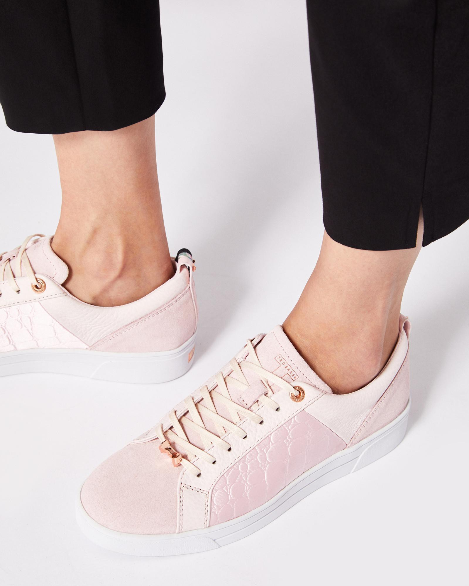 8ba71f014e241e Lyst - Ted Baker Contrast Trim Leather Trainers in Pink