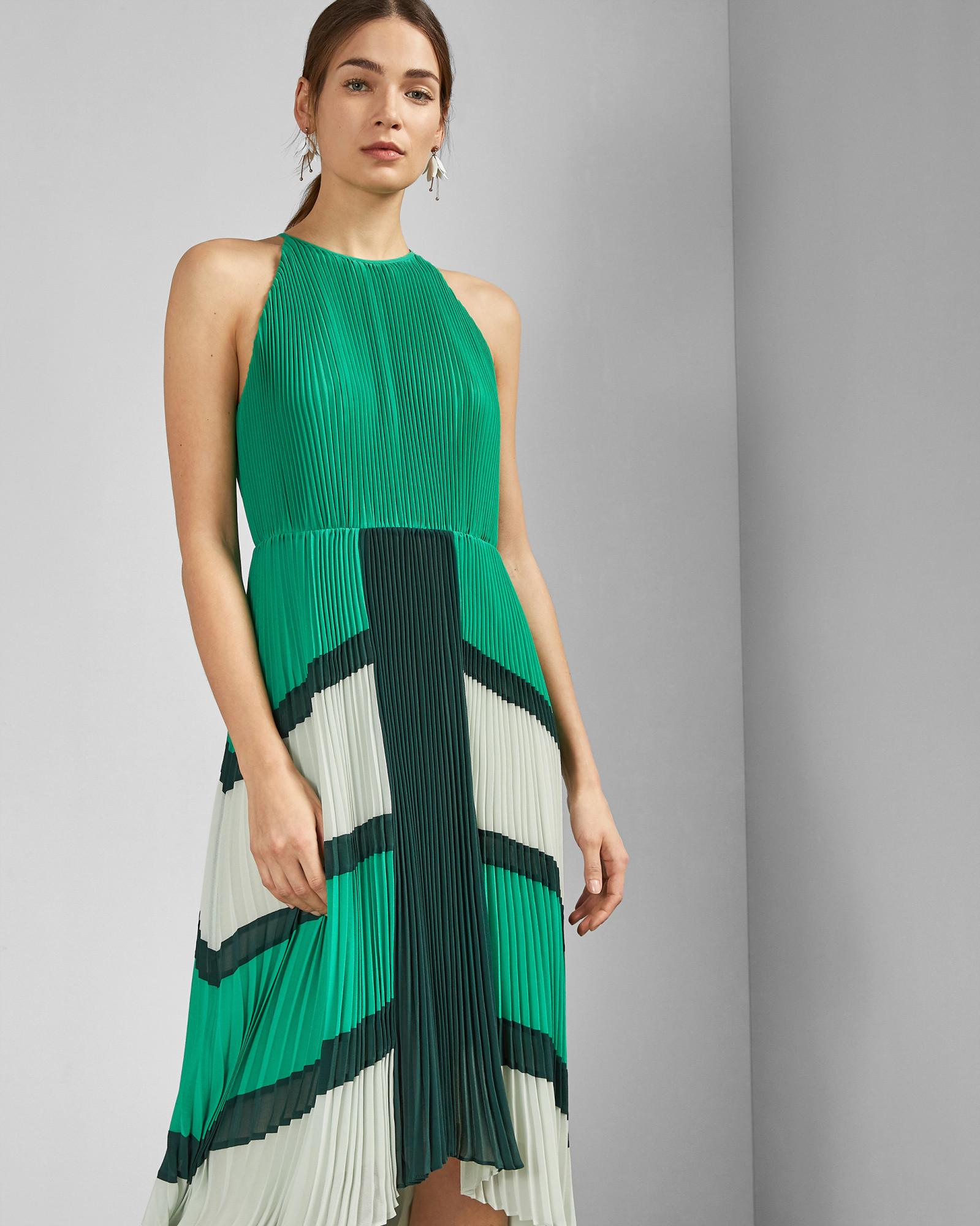 ff93f023b67 ... Green Dip Hem Pleated Dress - Lyst. Visit Ted Baker. Tap to visit site