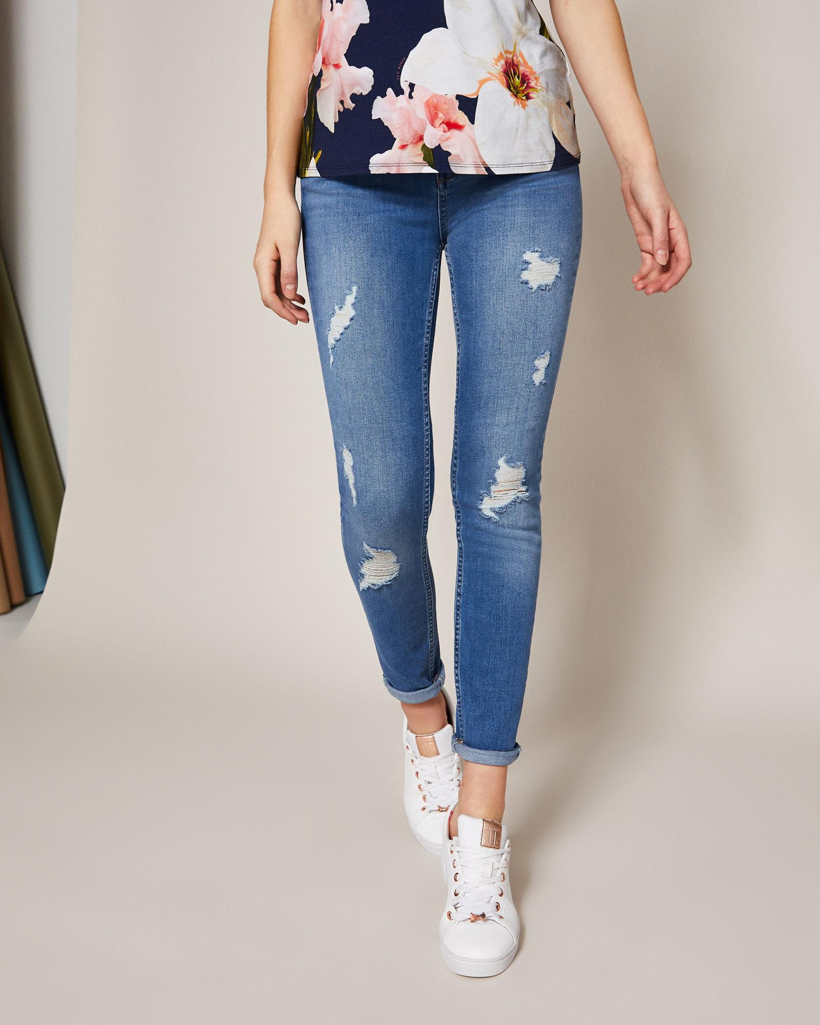 1afe09040e10a7 Ted Baker Ripped Skinny Jeans in Blue - Lyst