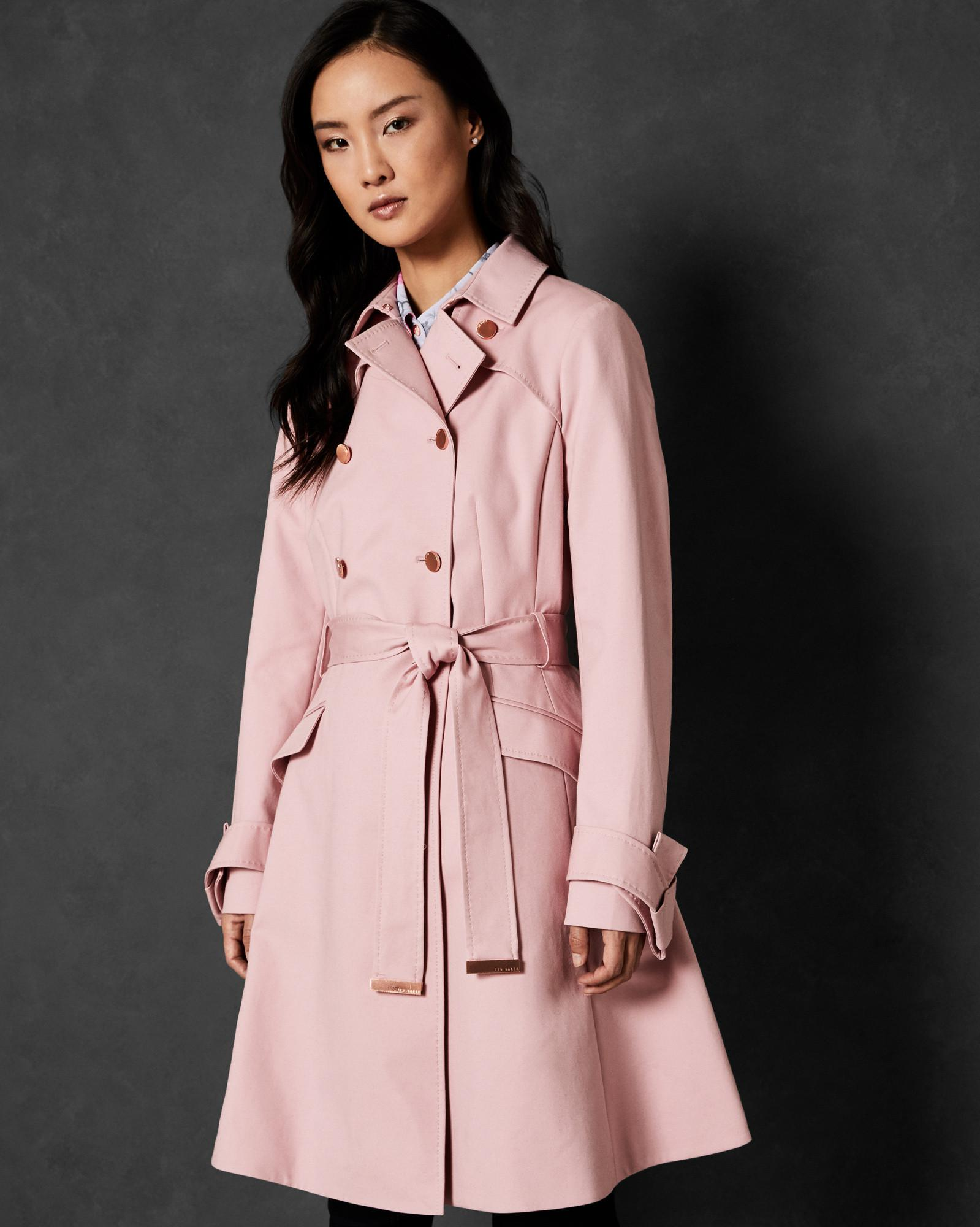 983fbb796788 Lyst - Ted Baker Double-breasted Cotton Mac in Pink