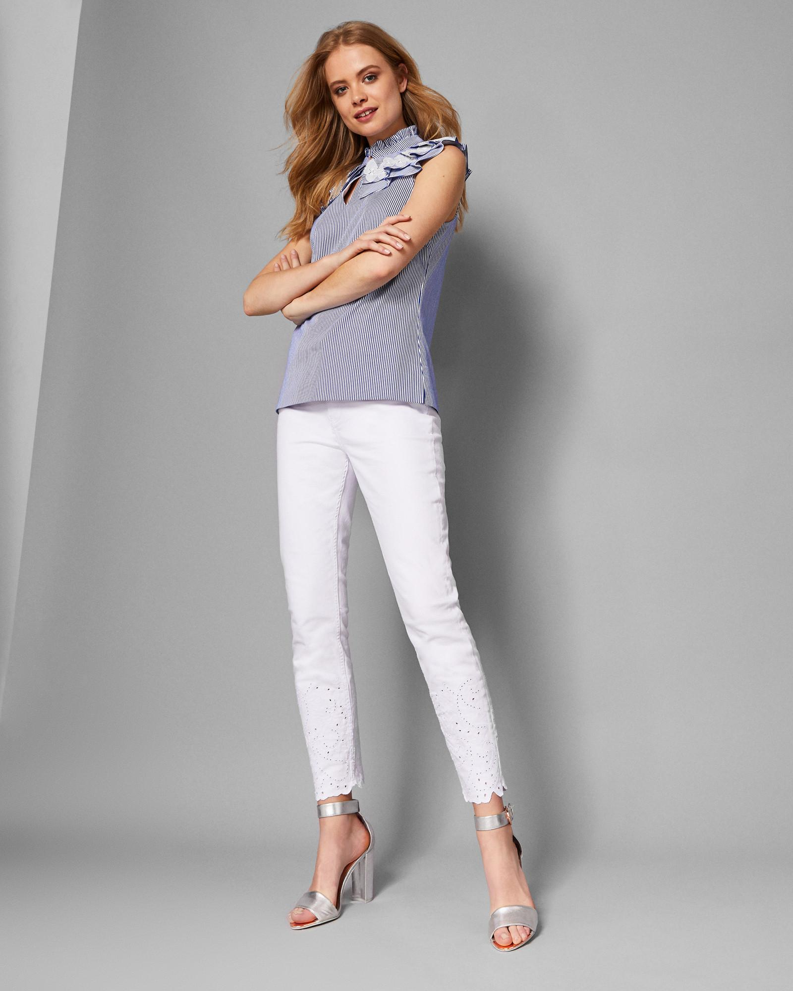 2799c0e9419dac Lyst - Ted Baker Embroidered Hem Skinny Jeans in White