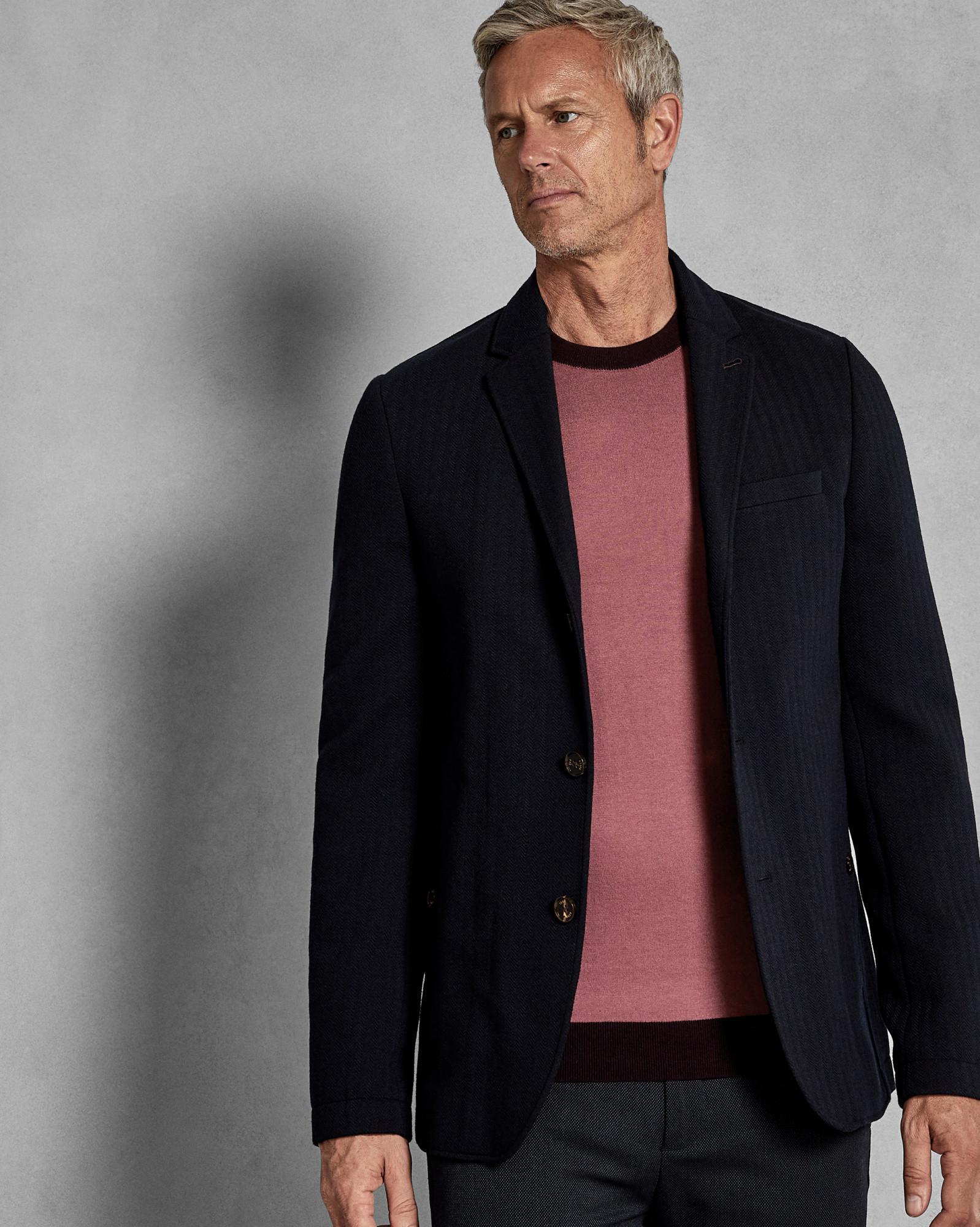 1db000b38 Lyst - Ted Baker 2-in-1 Herringbone Jersey Jacket in Blue for Men