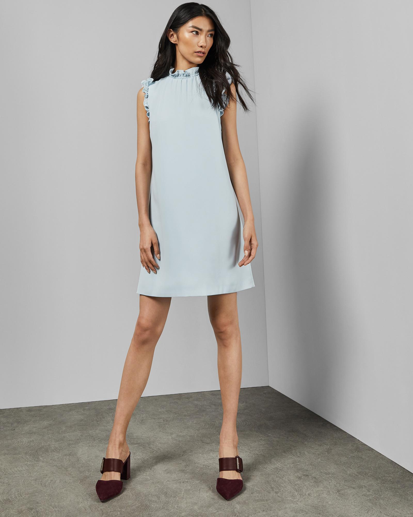f867b95cfda Ted Baker Ruffle Collar Dress in Blue - Lyst