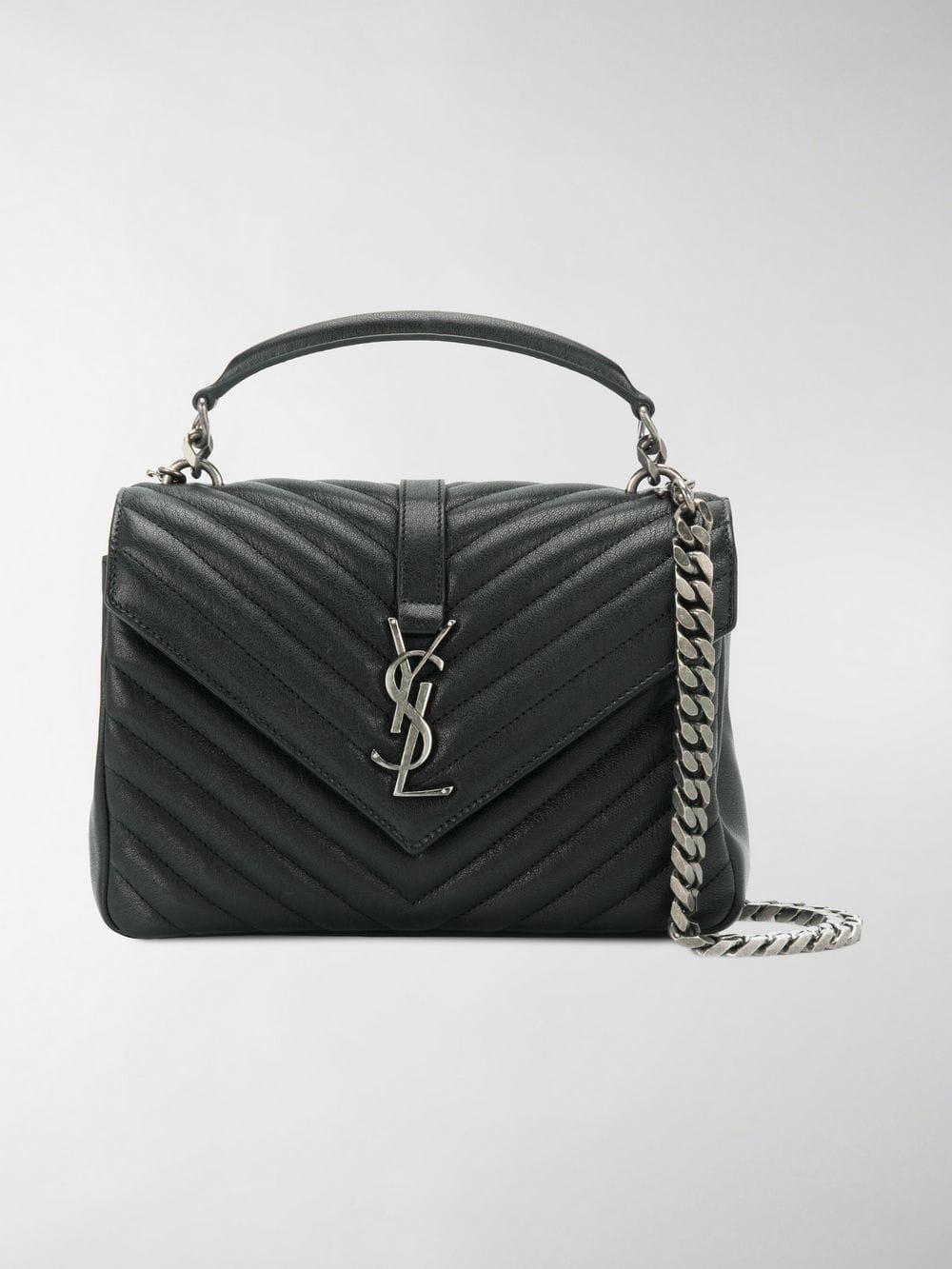 bc6b437dbb Saint Laurent Black College Medium Leather Shoulder Bag in Black - Lyst