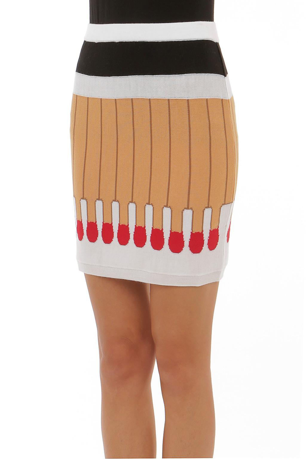 Moschino Match Embroidered Skirt in Brown