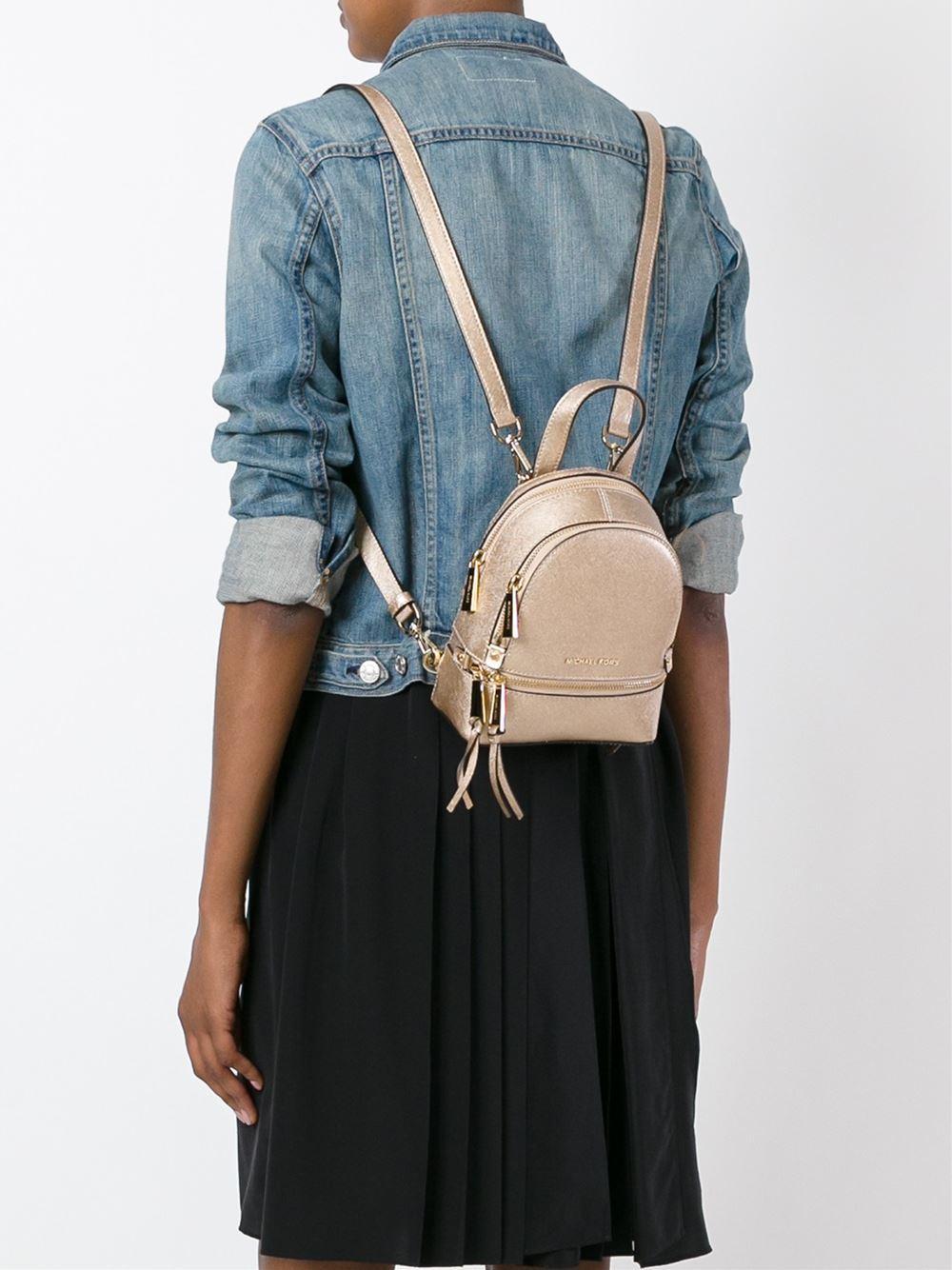 8529b896c02e MICHAEL Michael Kors Rhea Zip Mini Leather Backpack in Metallic - Lyst