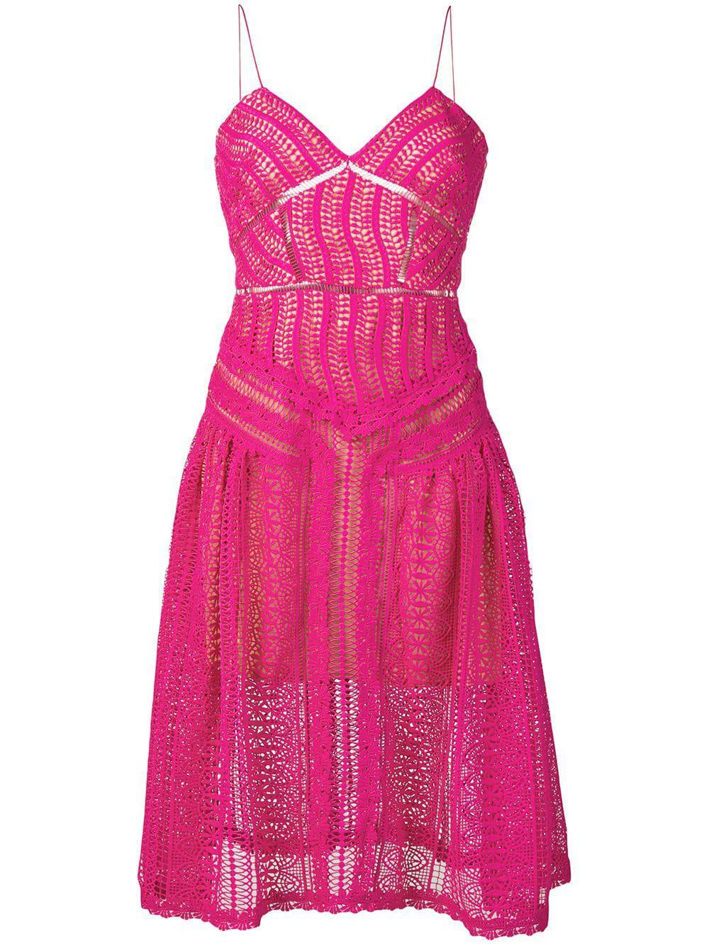 ff4a695b33c4 Lyst - Self-Portrait Lace Short Dress in Purple