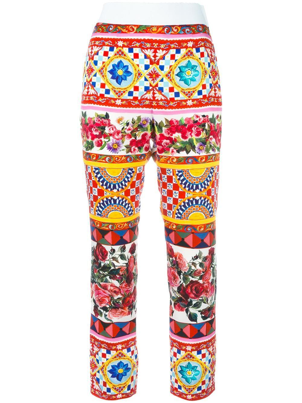 Dolce & gabbana Mambo Print Cropped Trousers