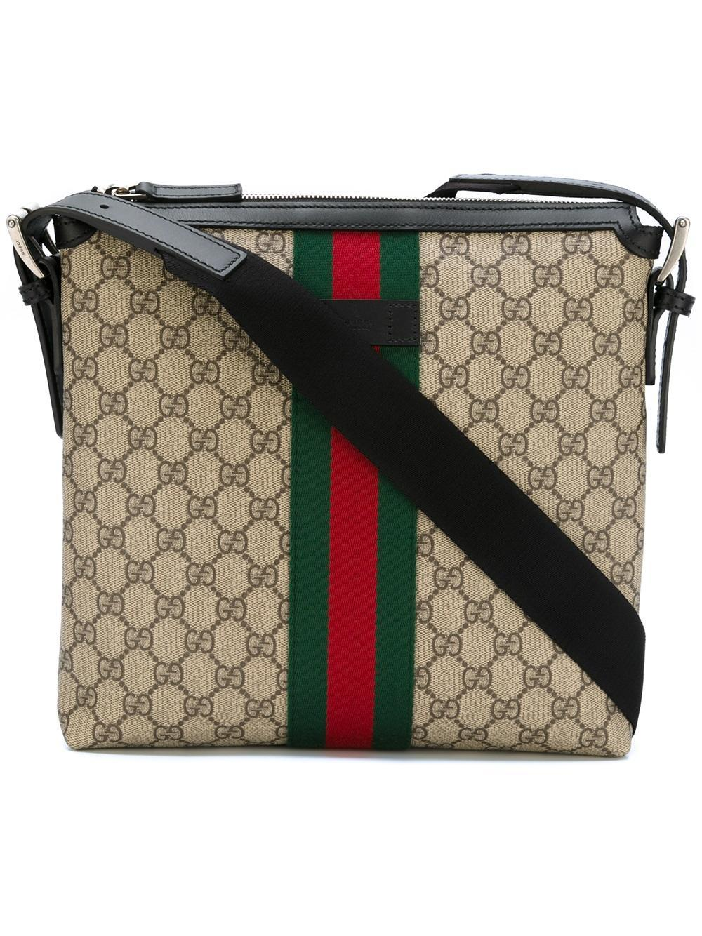 107f500e784 Gucci Gg Supreme Messenger Bag With Web Detail in Black for Men - Lyst