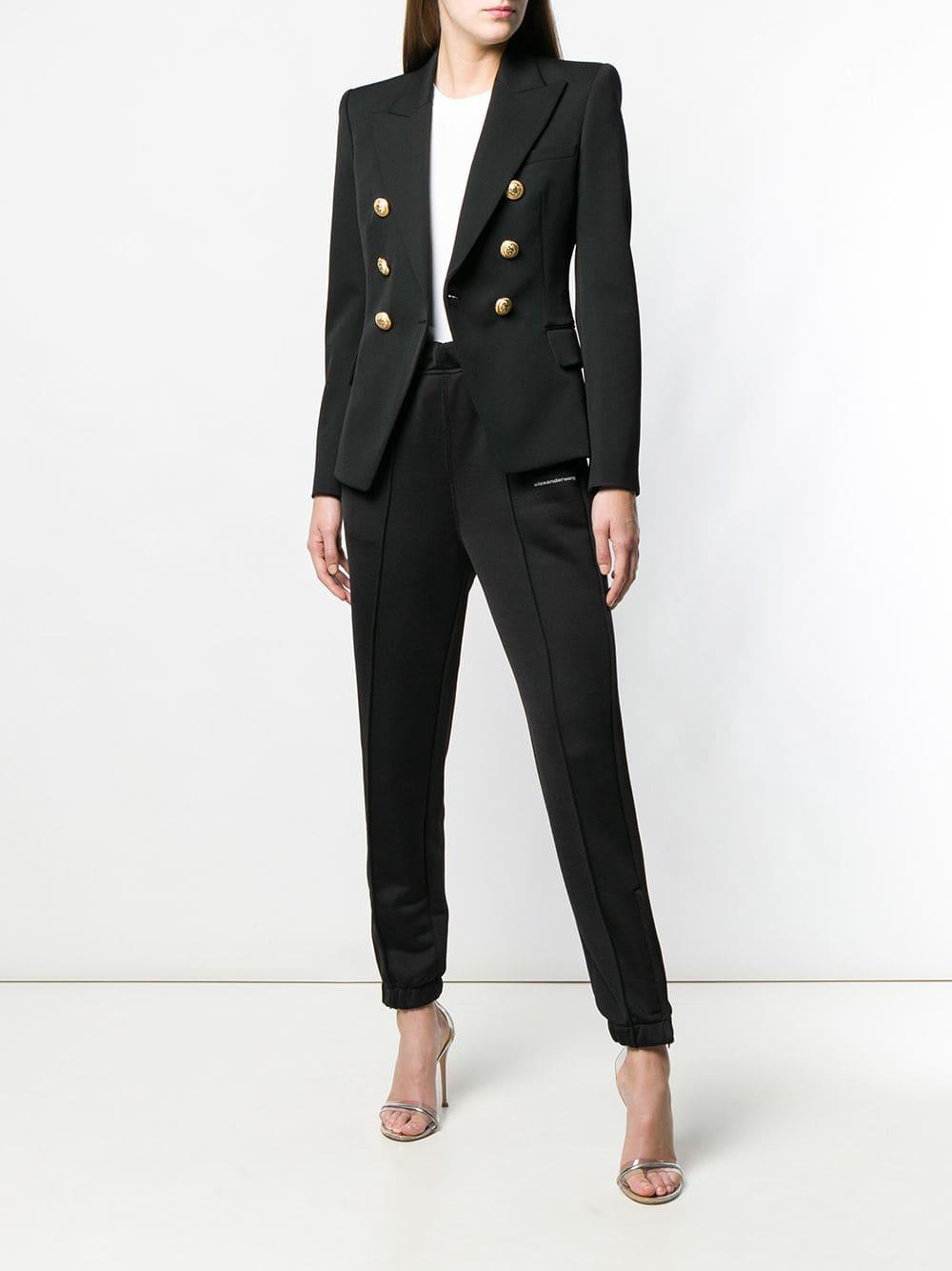 35f81b93 Balmain Double Breasted Wool Blazer in Black - Save 14% - Lyst