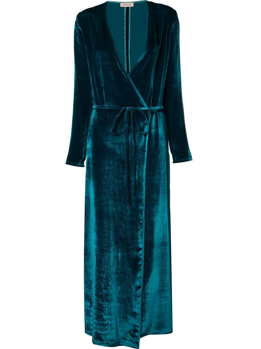 Attico Turquoise Velvet Robe Dress In Blue Save 40 Lyst