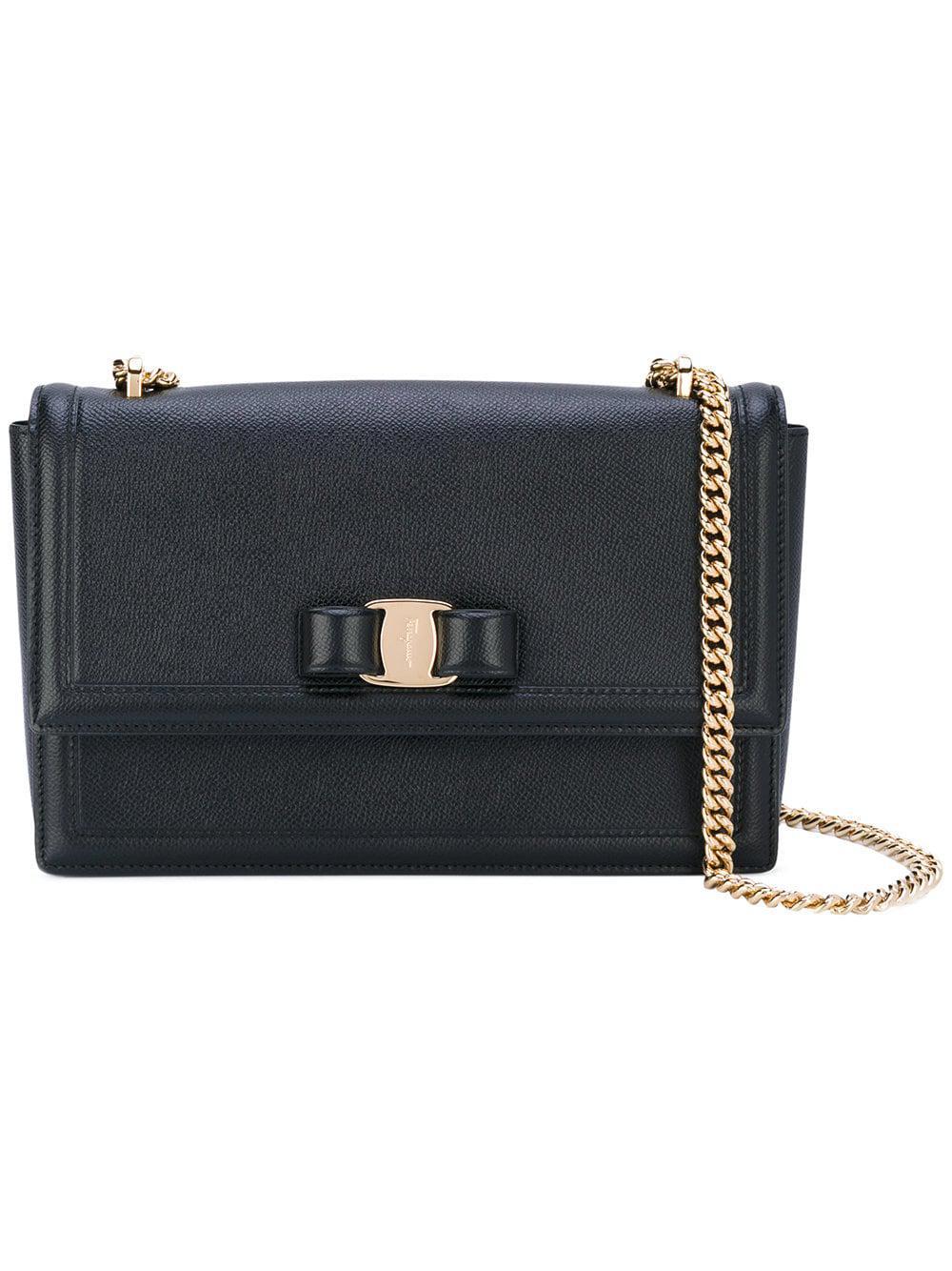 f05f813ea130 Lyst - Ferragamo Ginny Leather Shoulder Bag in Black - Save ...