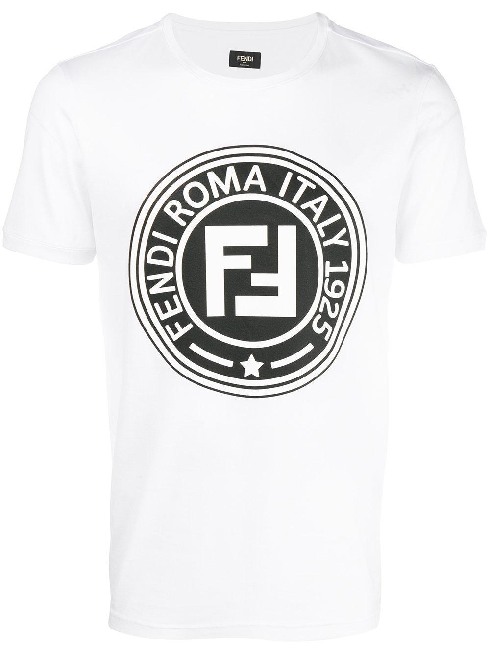 ca083acb60d28e Fendi Cotton T-shirt Circle Logo Print in White for Men - Lyst