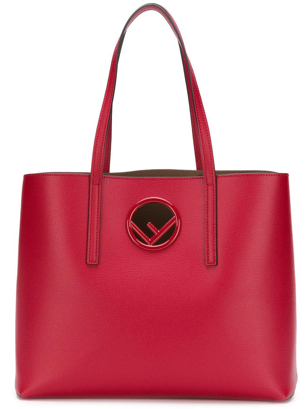 27f9f1956115 Fendi Leather Shopping Bag in Red - Lyst