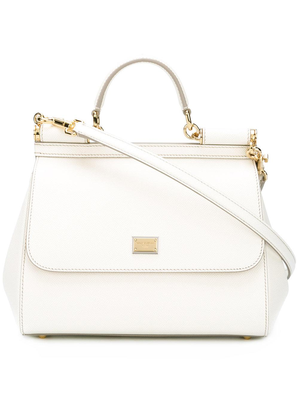 9d45c76499 Dolce   Gabbana Sicily Dauphine Leather Bag in White - Lyst