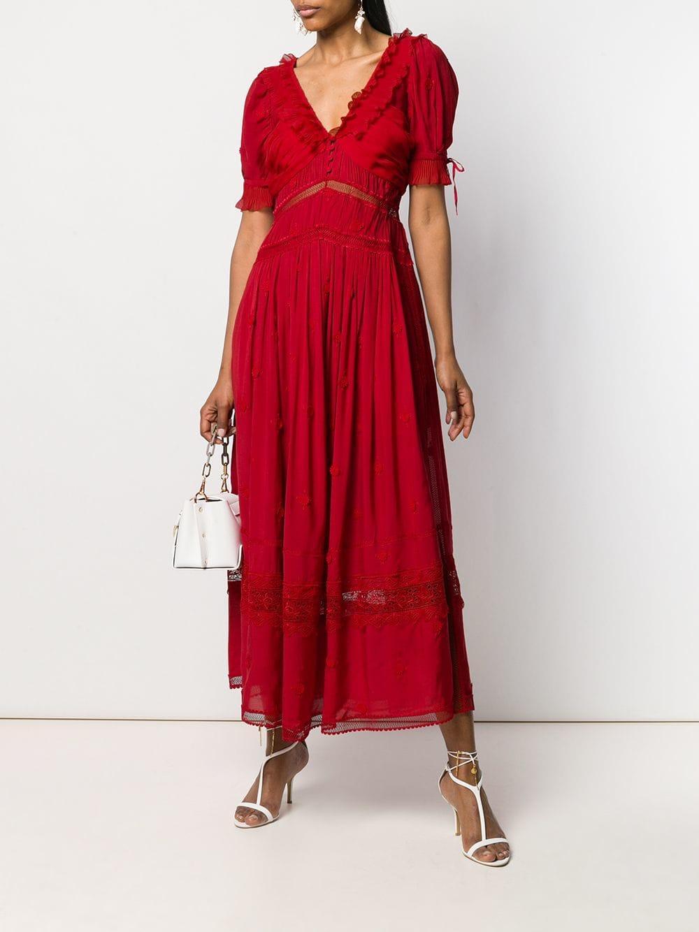 3c3c69f5d1c Self-Portrait Midi Lace Dress in Red - Lyst