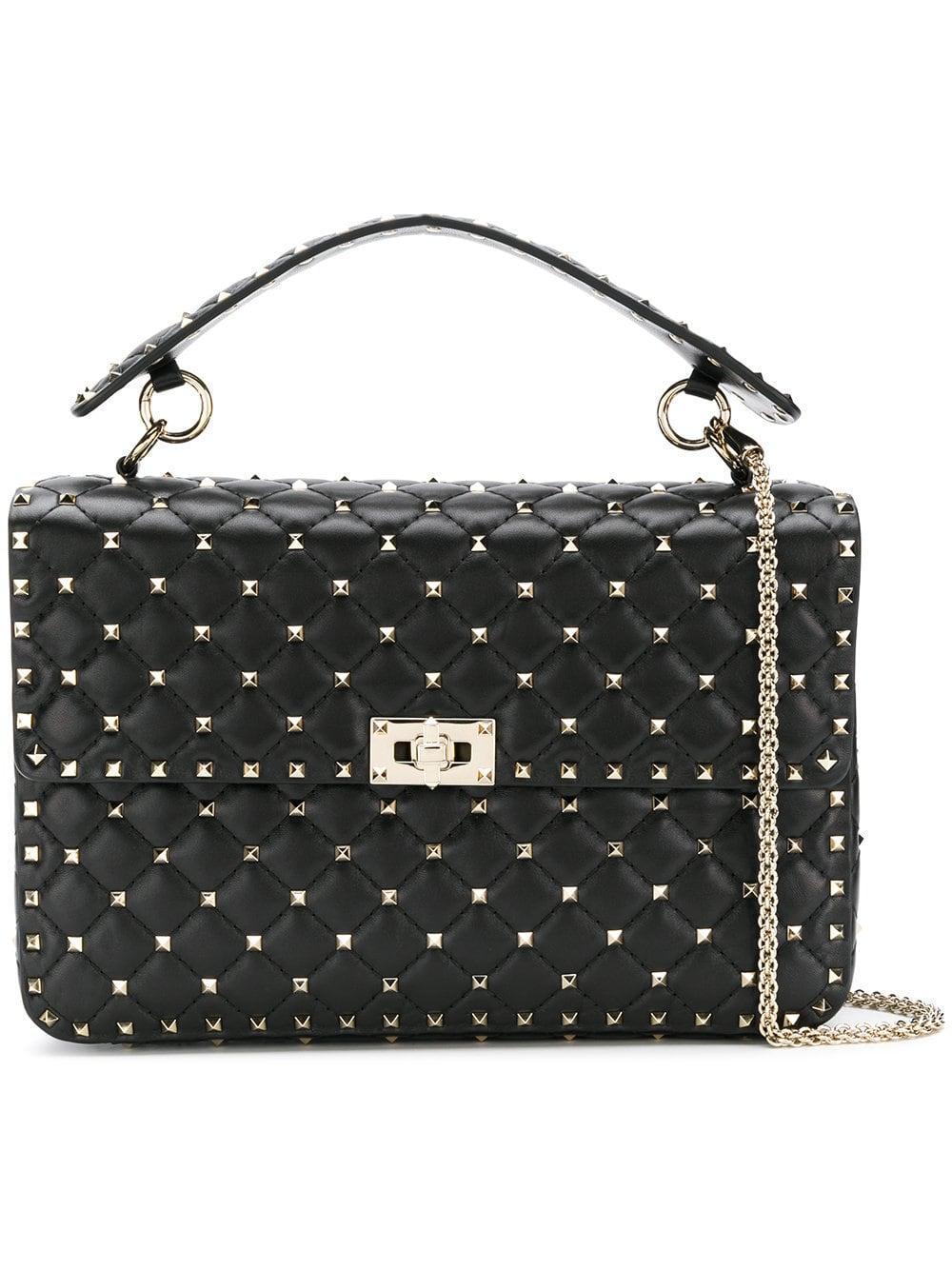 70767f48aa15 Lyst - Valentino Rockstud Spike Large Leather Shoulder Bag in Black ...