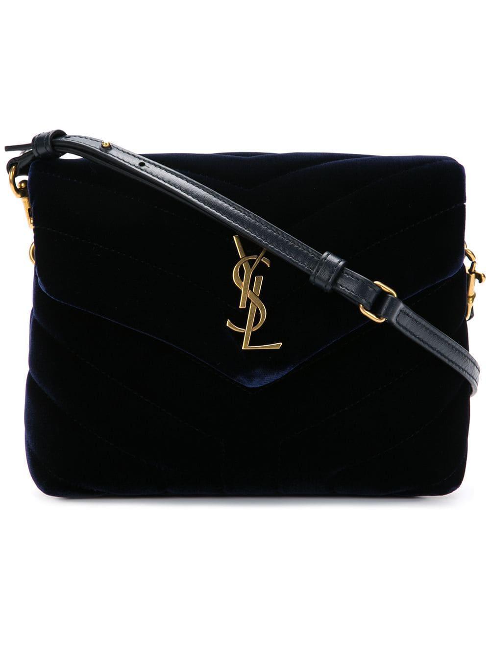 923c6234 Saint Laurent Monogram Leather Shoulder Bag in Blue - Lyst