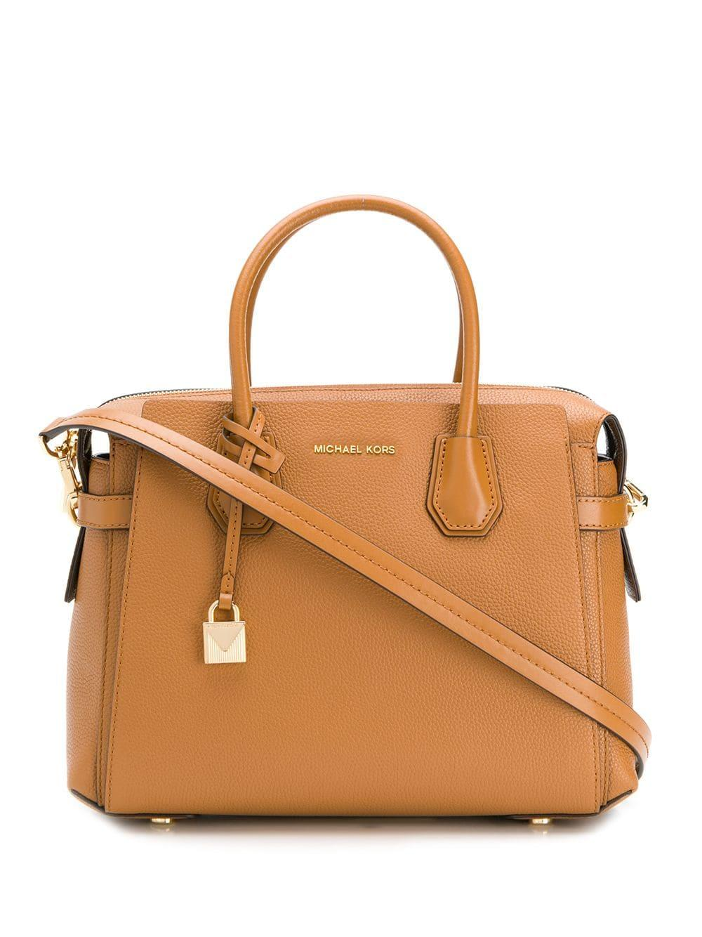 273ac1cab2d6 Lyst - MICHAEL Michael Kors Mercer Belted Leather Satchel Bag in Brown