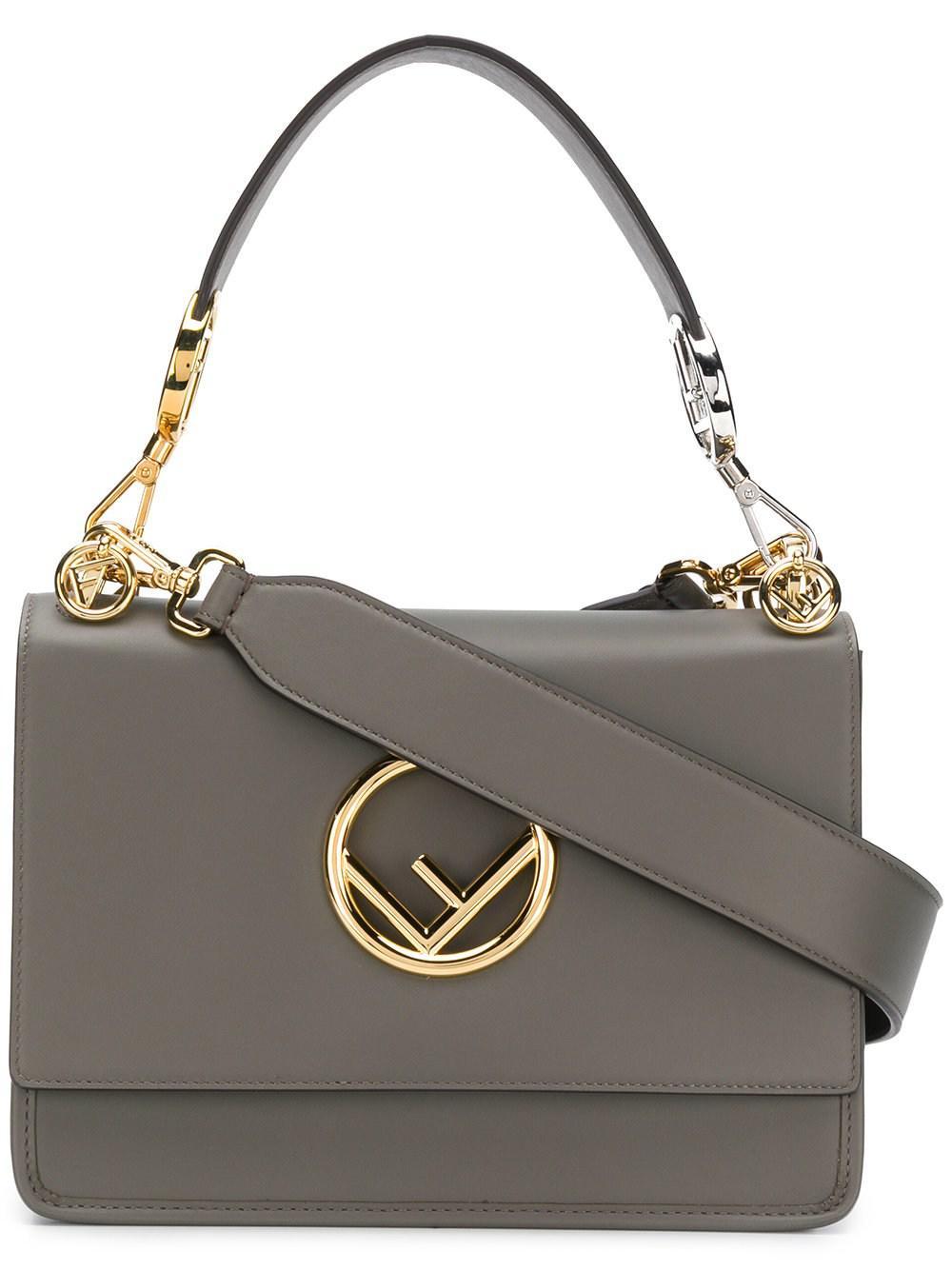 Lyst - Fendi Kan I Leather Shoulder Bag in Gray a21fd49994503