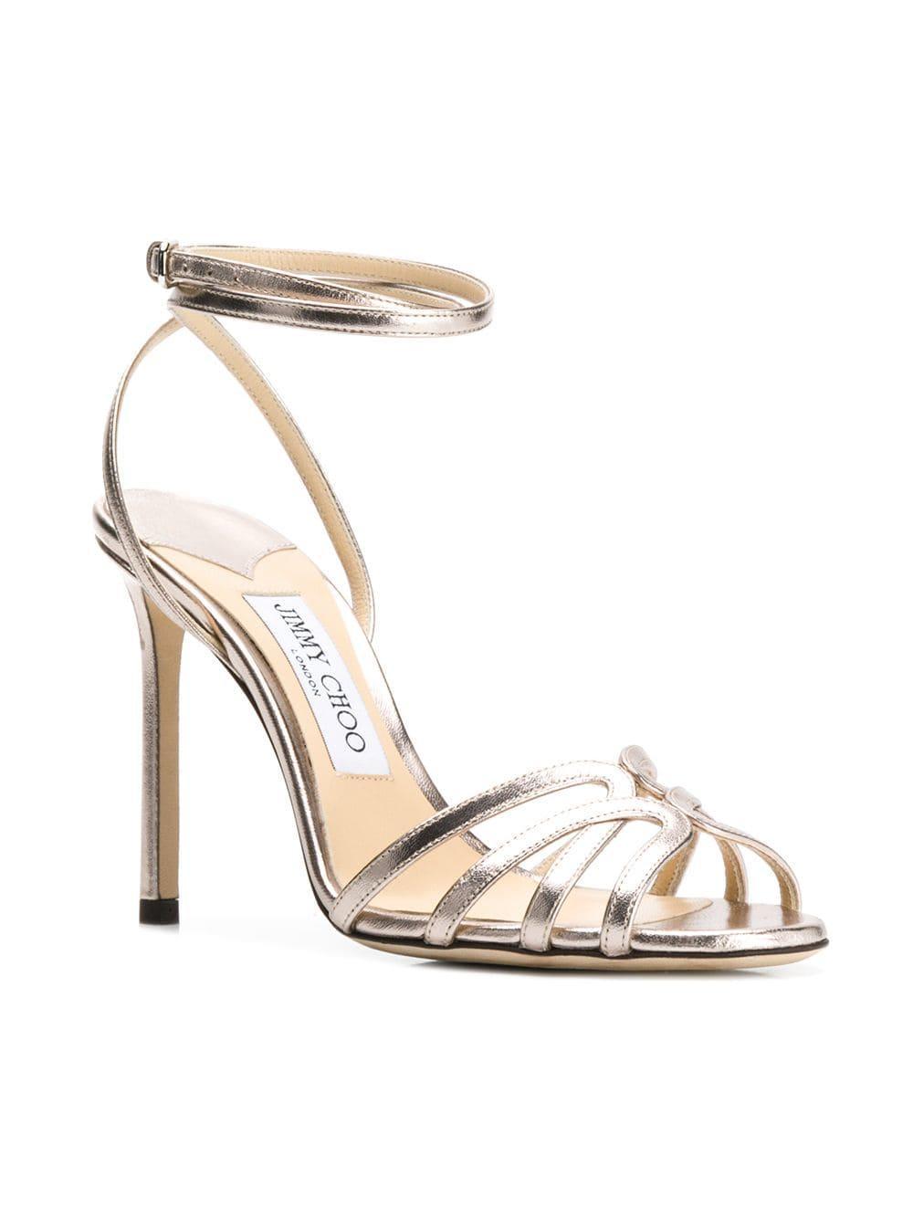 8b9e839969ac Lyst - Jimmy Choo Mimi 100 Leather Sandals in Metallic