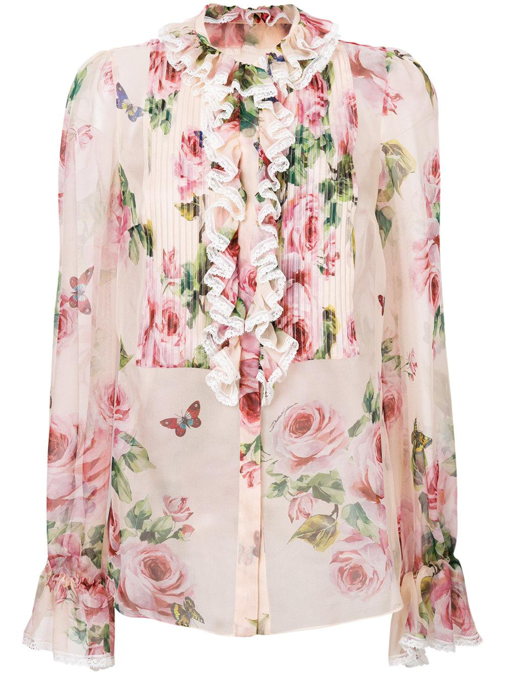 Lyst dolce gabbana flower print shirt in pink gallery mightylinksfo