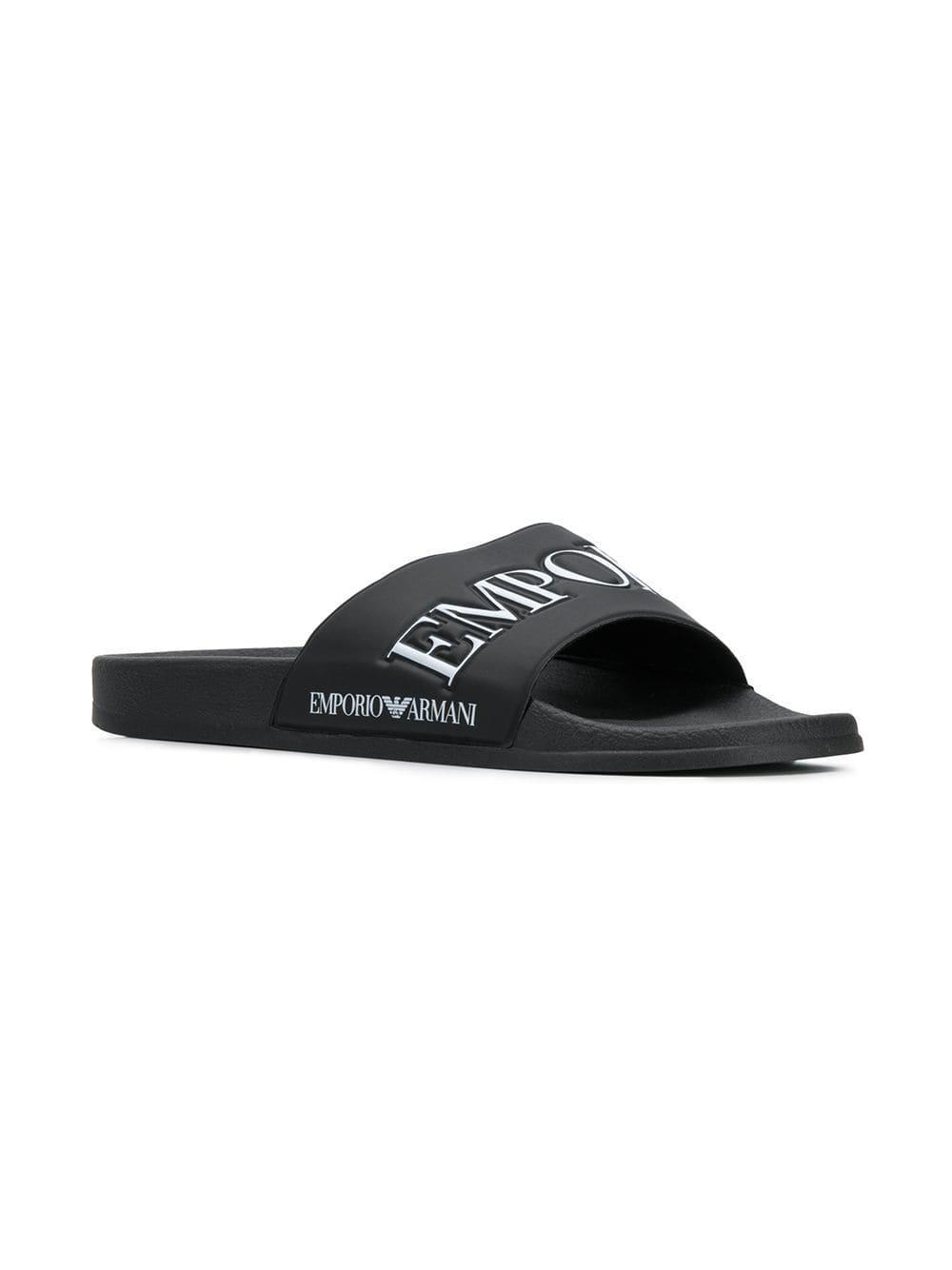 c64982c82 Lyst - Emporio Armani Logo Sliders in Black for Men - Save 23%