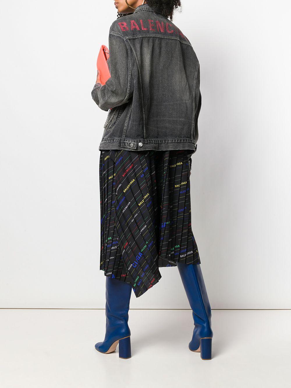 ee00630480aba4 Lyst - Balenciaga Logo Denim Jacket in Gray