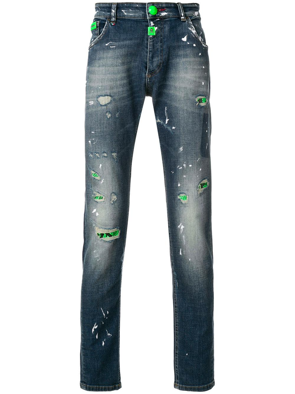 The Cheapest Cheap Price Fluo Python jeans - Blue Philipp Plein Buy Cheap Official Websites Cheap Online Free Shipping Factory Outlet RKf1T1