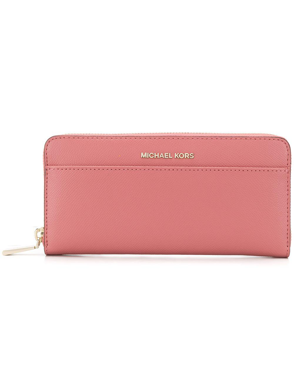 6b6bd23c3adb MICHAEL Michael Kors. Women's Pink Leather Zip Around Continental Wallet