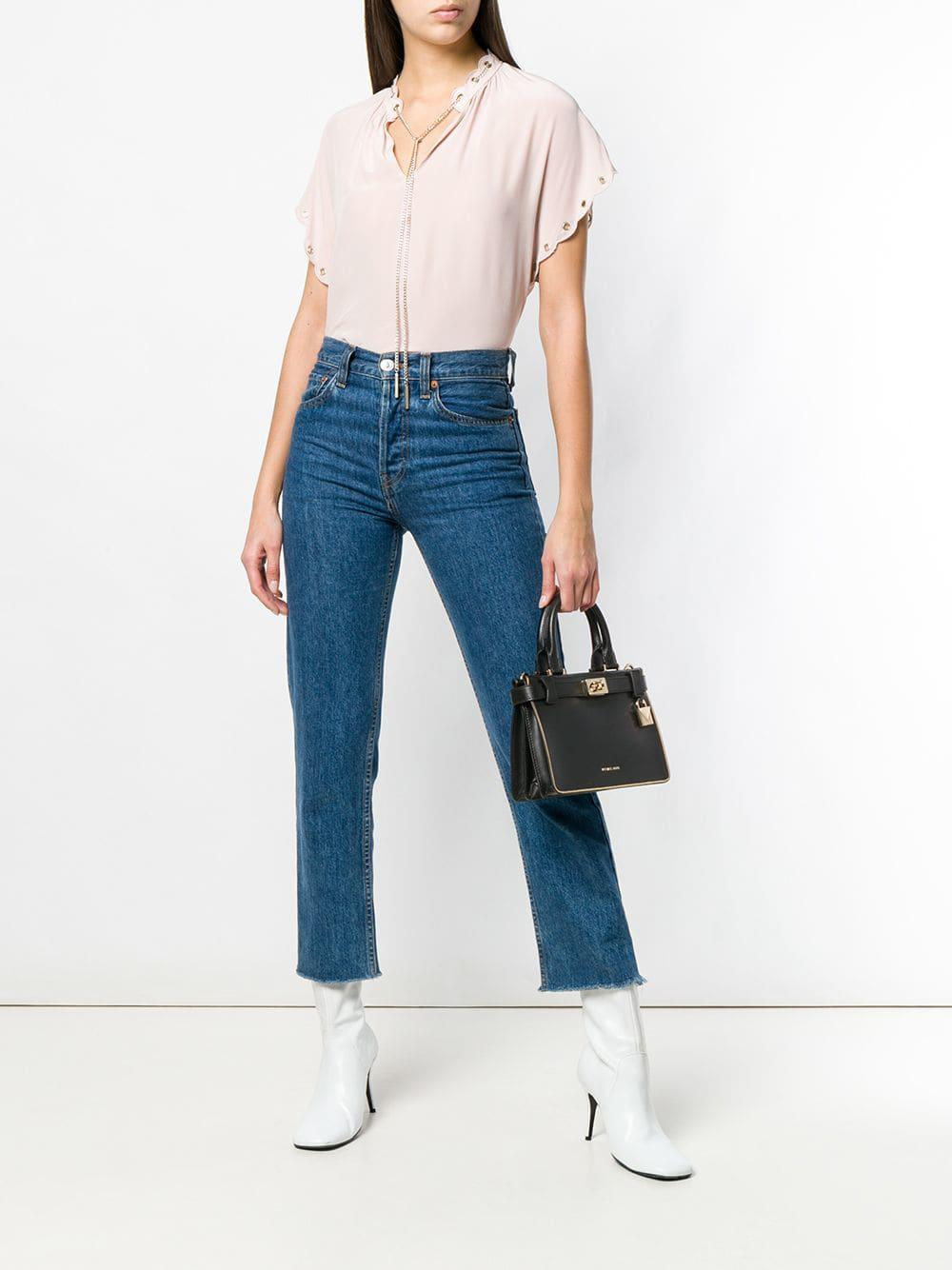 b5dc5ebd9746 MICHAEL Michael Kors Tatiana Leather Shoulder Bag in Black - Lyst