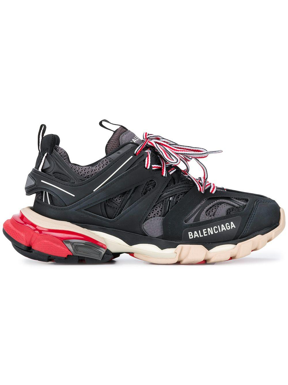 1c1faf22bf16 Balenciaga - Black Track Leather And Mesh Sneakers - Lyst. View fullscreen