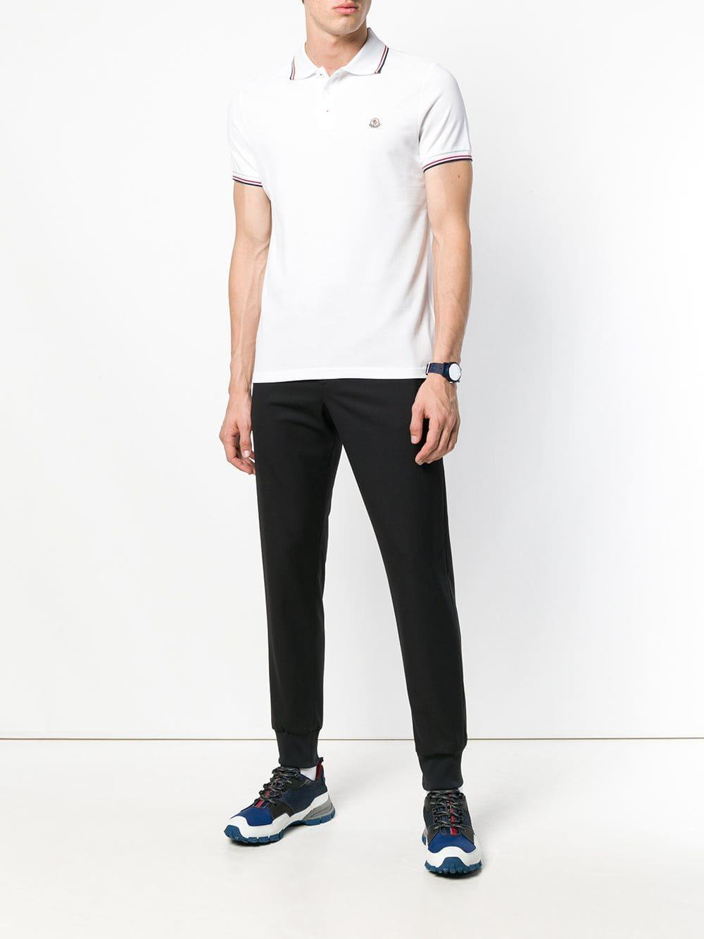 1a30f5be Moncler Logo Cotton Polo in White for Men - Lyst