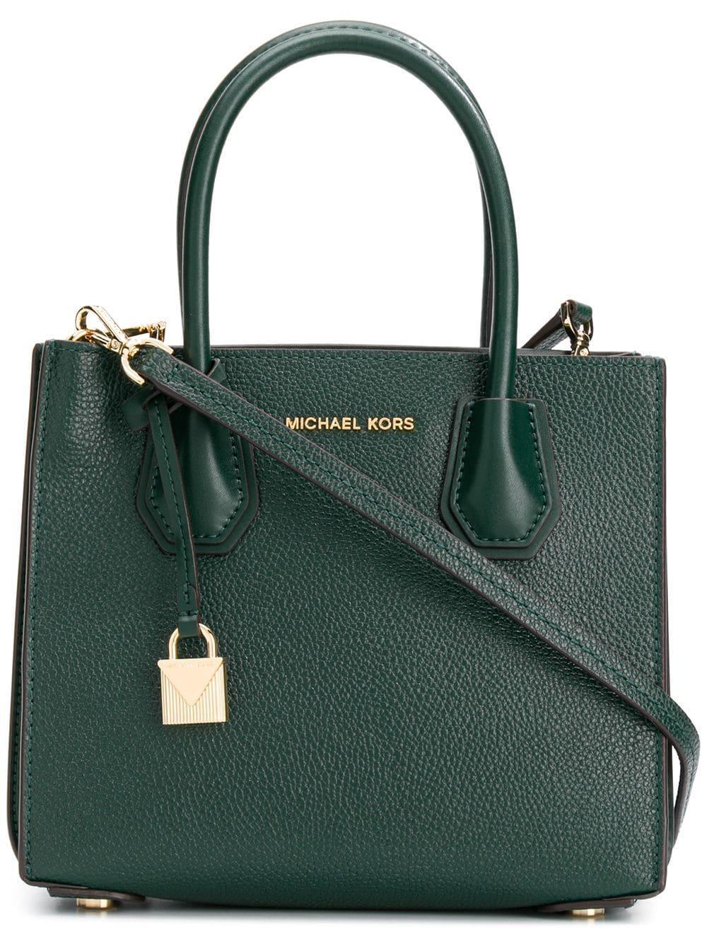 d30ccbcdce7 Lyst - MICHAEL Michael Kors Mercer Leather Shoulder Bag in Green ...