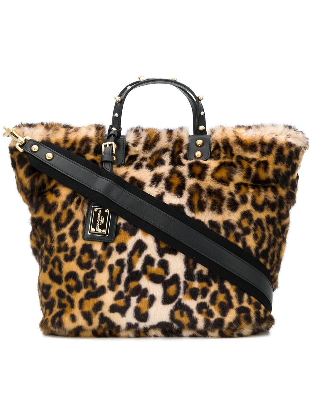 07e171eae0df Lyst - Dolce   Gabbana Leopard Print Fur Shopping Bag in Natural