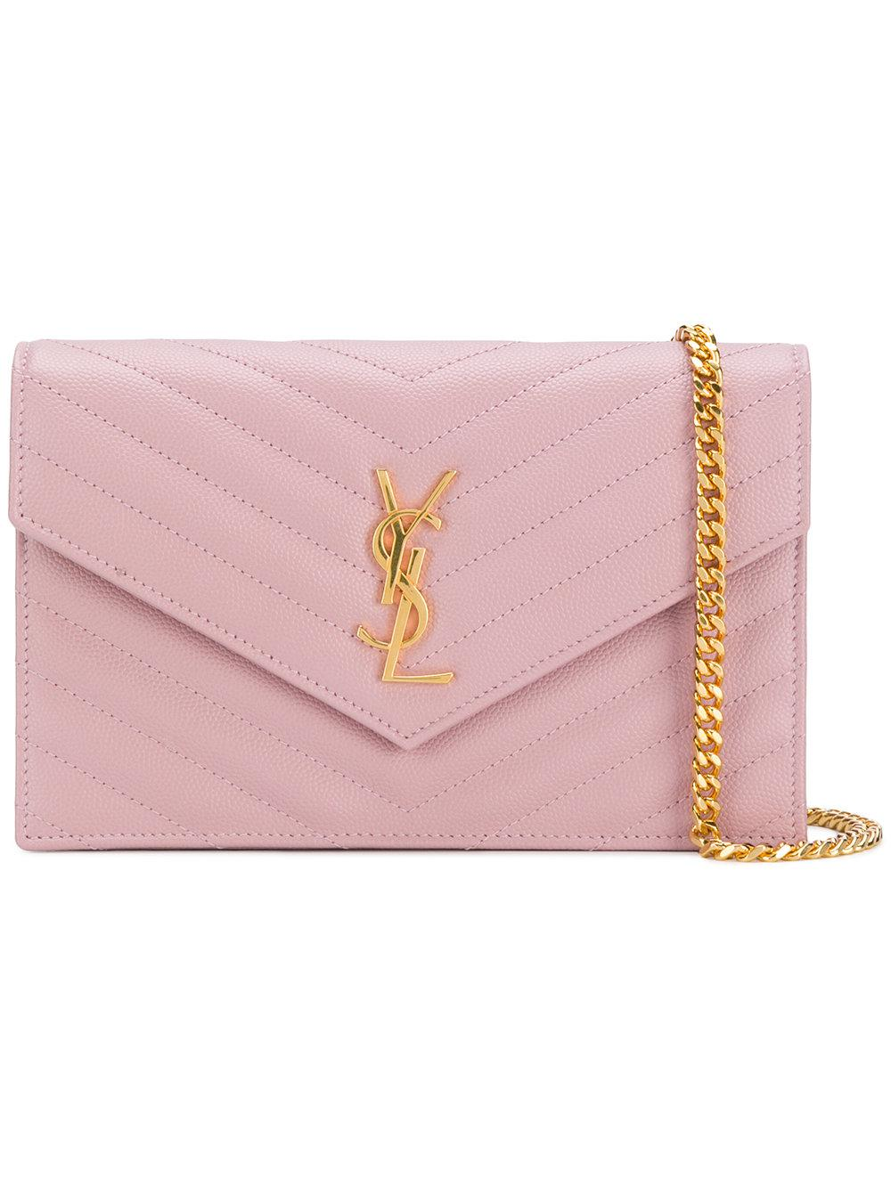 06a8b743c76 Saint Laurent Monogram Envelope Leather Wallet On Chain in Pink - Lyst