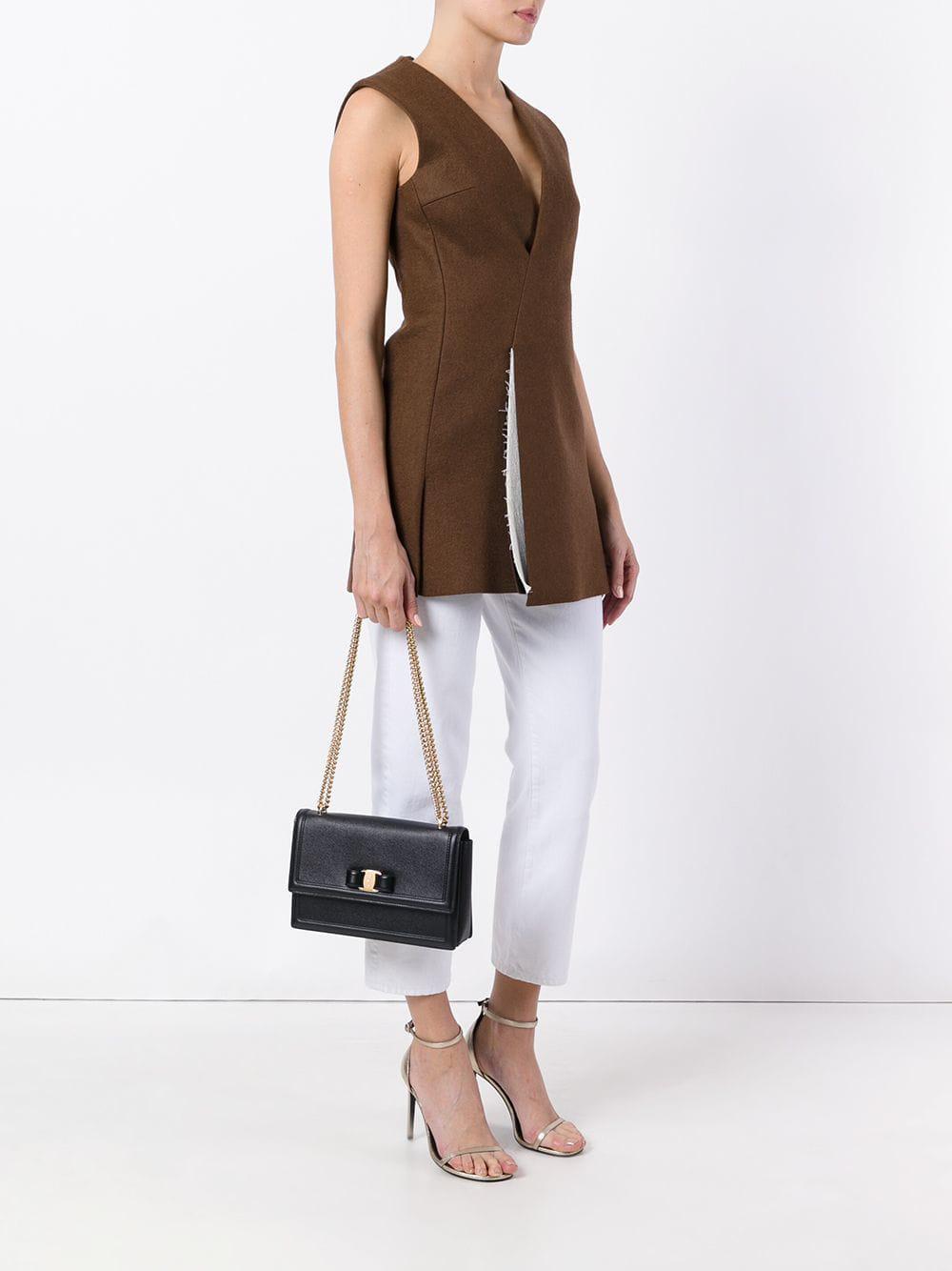 809cf48b145a Ferragamo - Black Ginny Leather Shoulder Bag - Lyst. View fullscreen